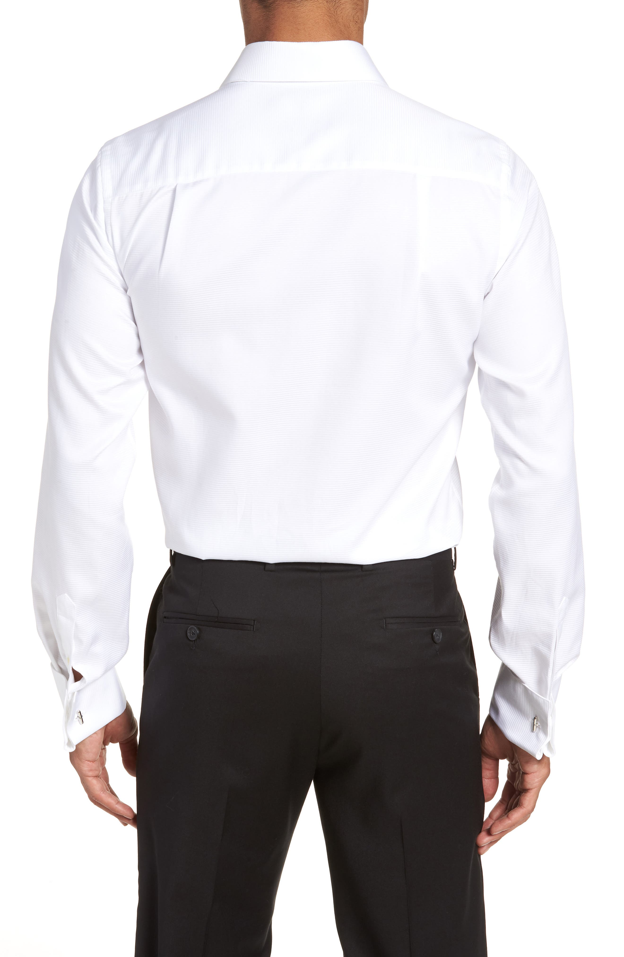 Trim Fit Twill French Cuff Tuxedo Shirt,                             Alternate thumbnail 3, color,                             SOLID WHITE
