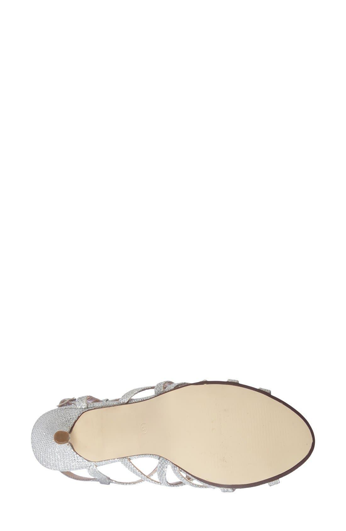 'Rich Glitter' Sandal,                             Alternate thumbnail 4, color,                             SILVER GLITTER MESH