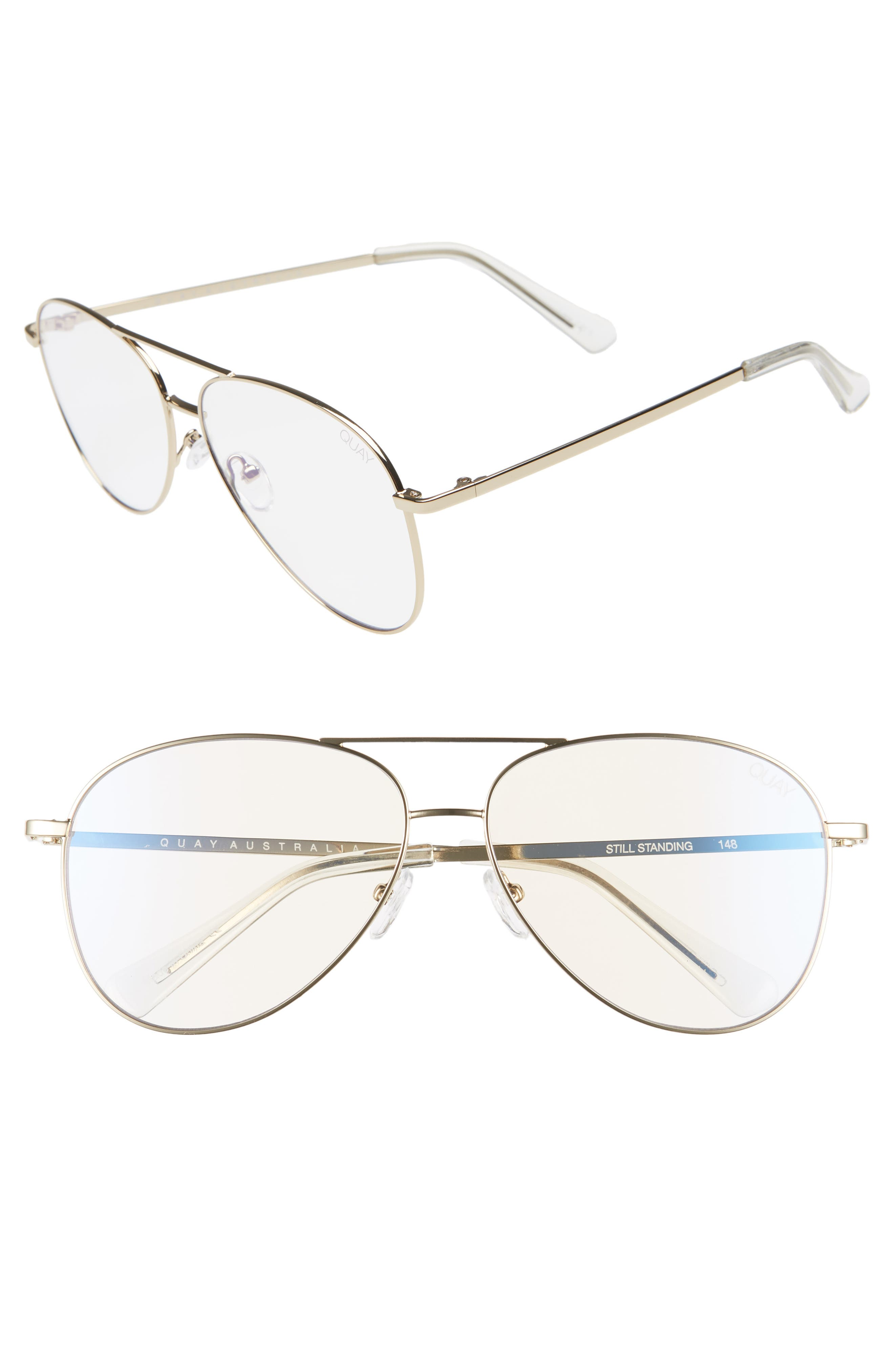 Still Standing 58mm Aviator Fashion Glasses,                         Main,                         color, GOLD / CLEAR BLUE LIGHT