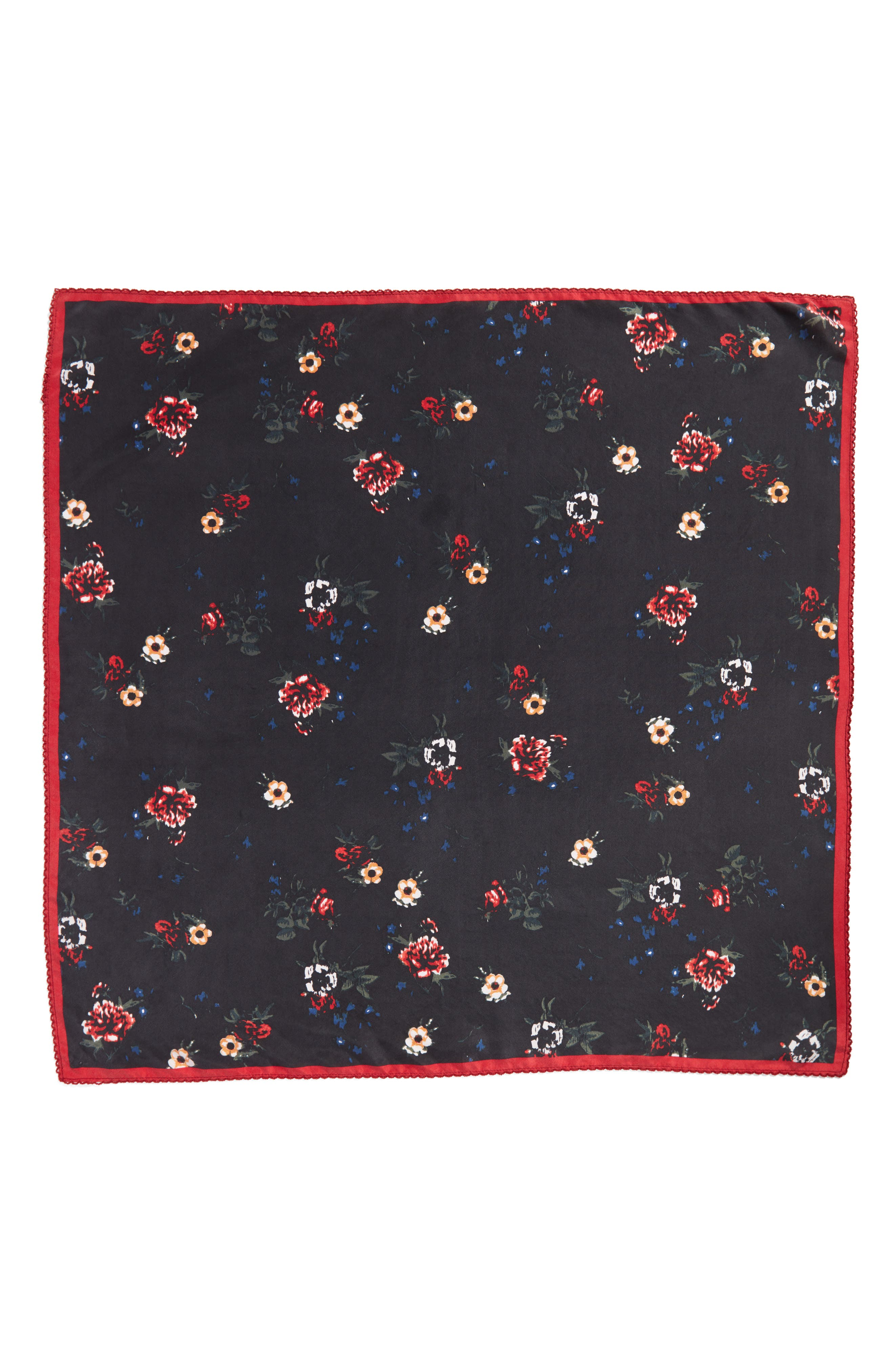 x Something Navy Floral Bouquet Silk Square Scarf,                             Alternate thumbnail 3, color,                             001