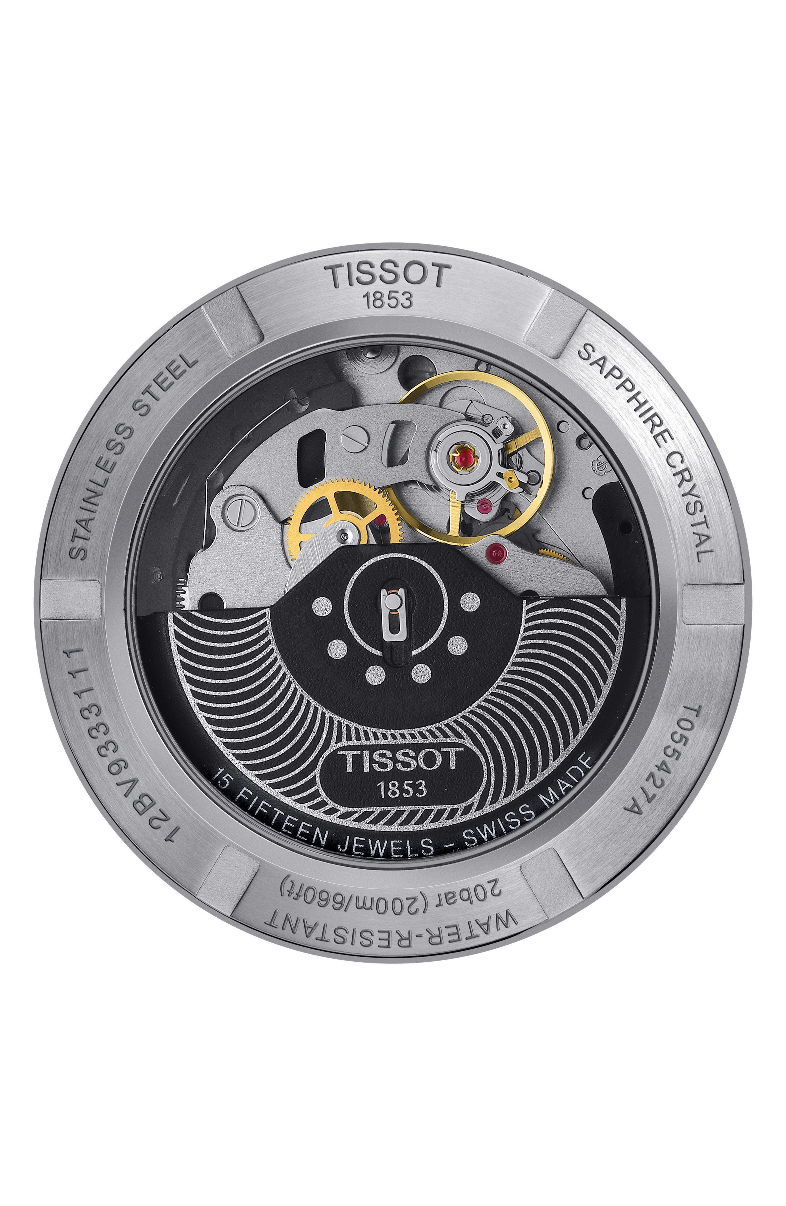 TISSOT,                             PRC200 Automatic Chronograph Silicone Strap Watch, 43mm,                             Alternate thumbnail 2, color,                             BLACK/ SILVER