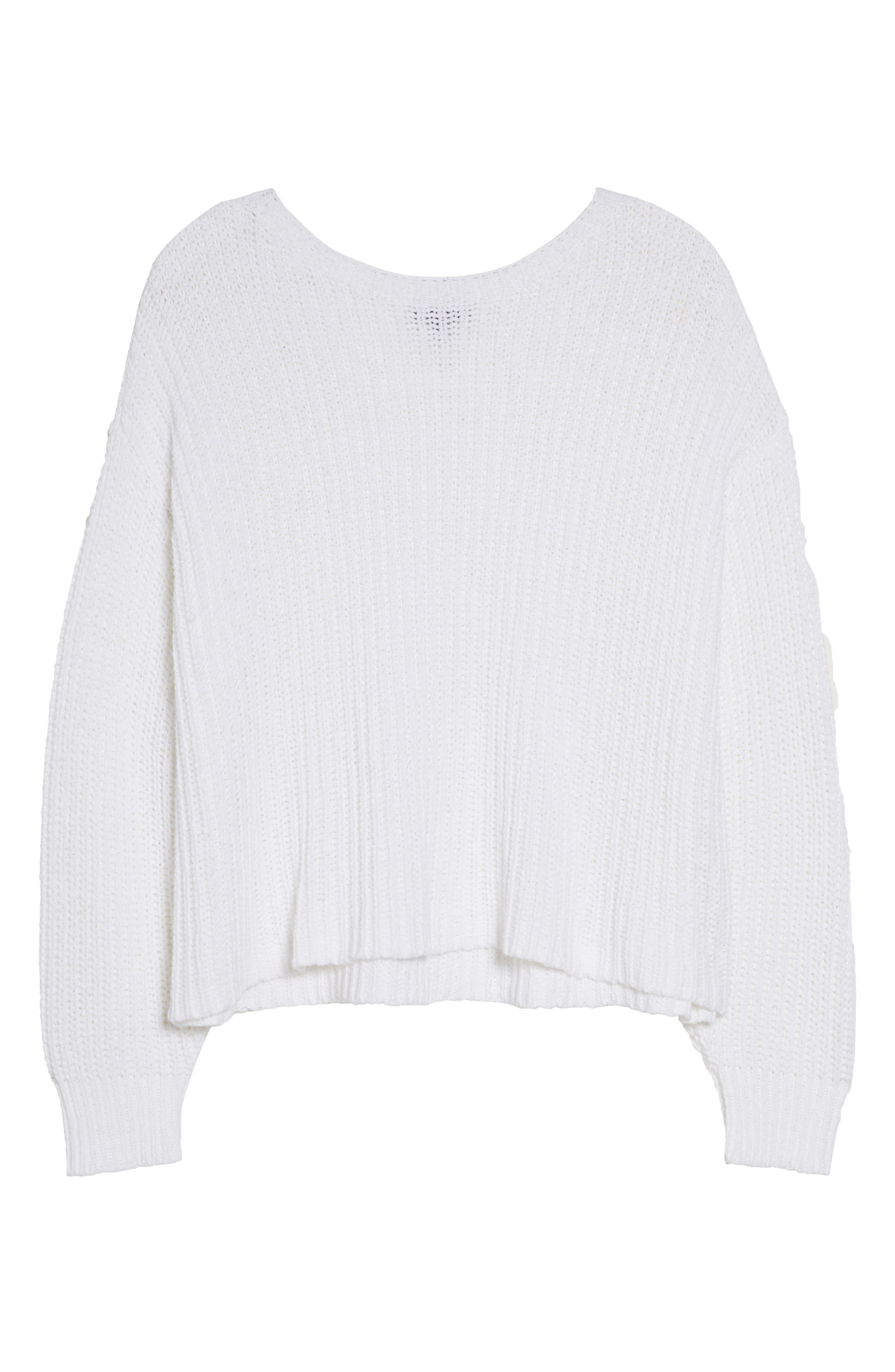 Crewneck Crop Shaker Sweater,                             Alternate thumbnail 11, color,                             WHITE