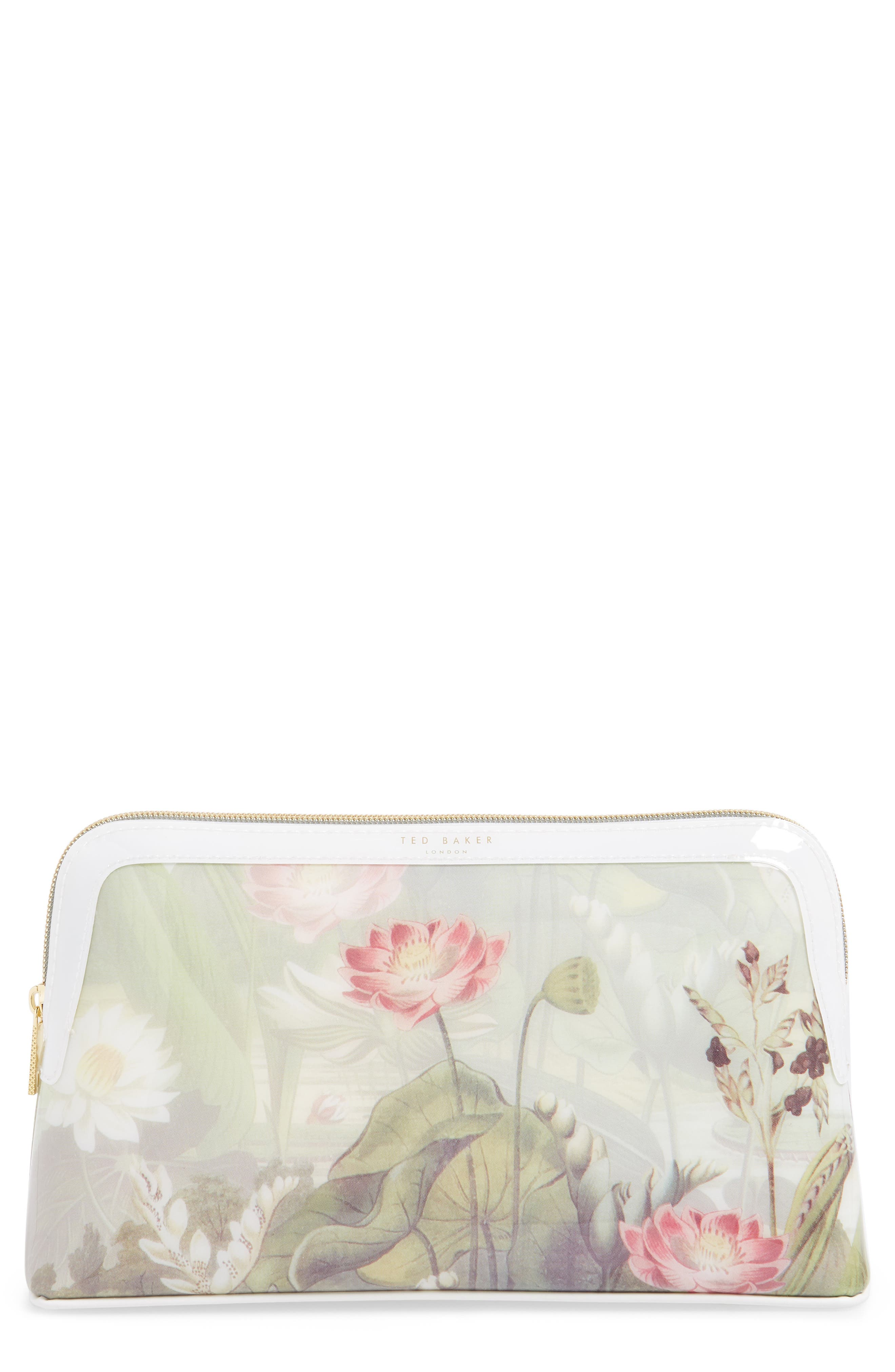 Relliee Floral Cosmetics Case in White