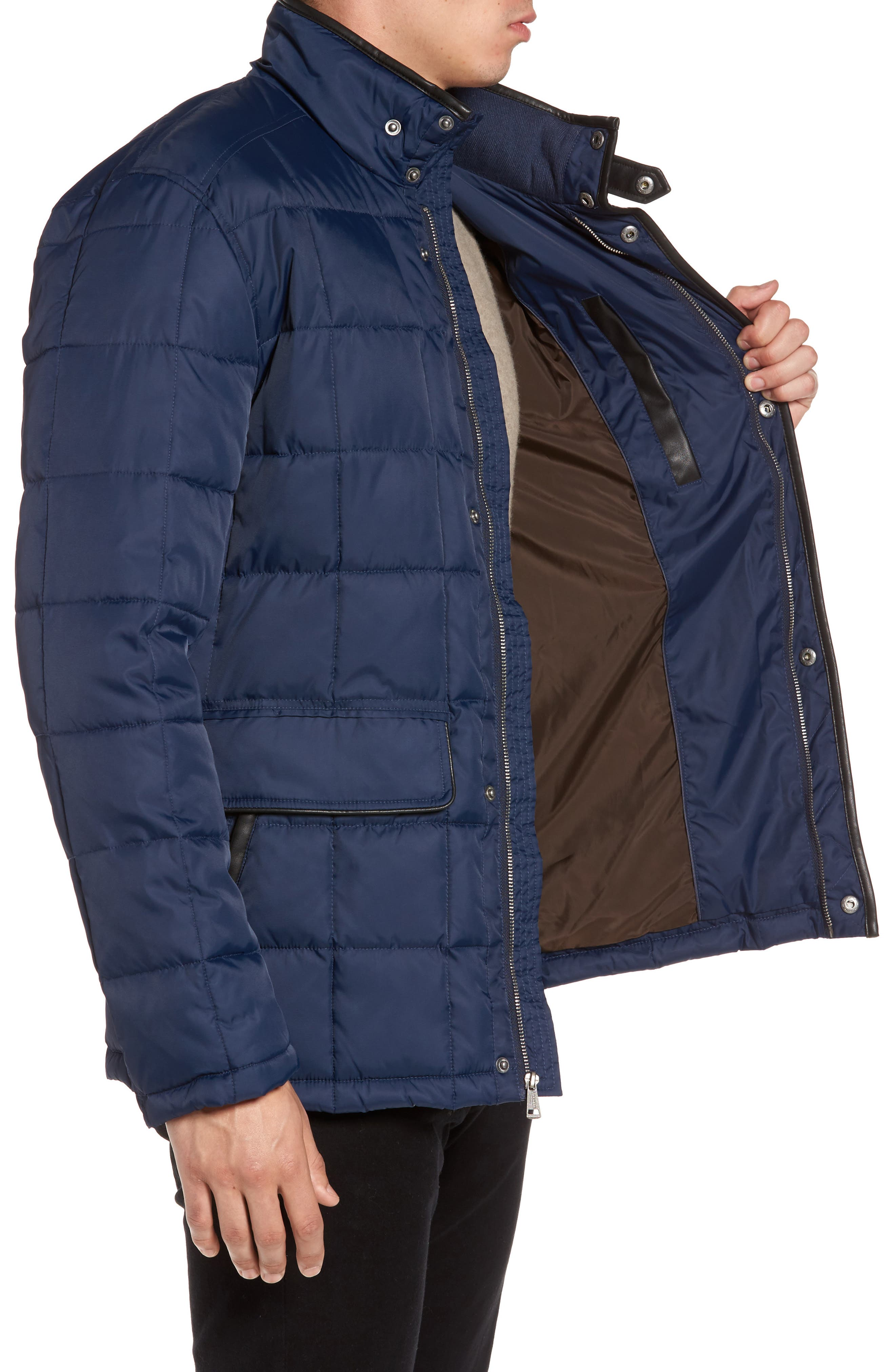 Box Quilted Jacket,                             Alternate thumbnail 3, color,                             NAVY