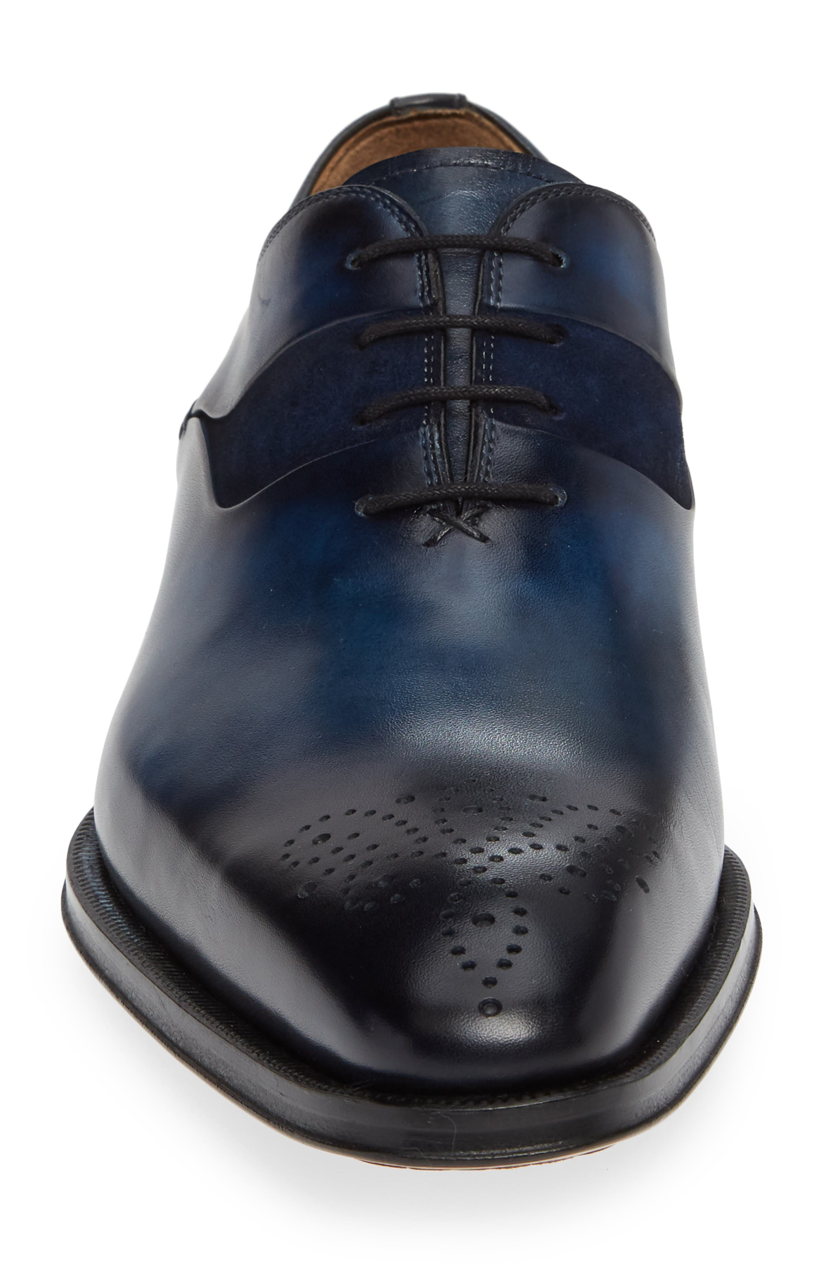 Hector Plain Toe Oxford,                             Alternate thumbnail 4, color,                             NAVY LEATHER