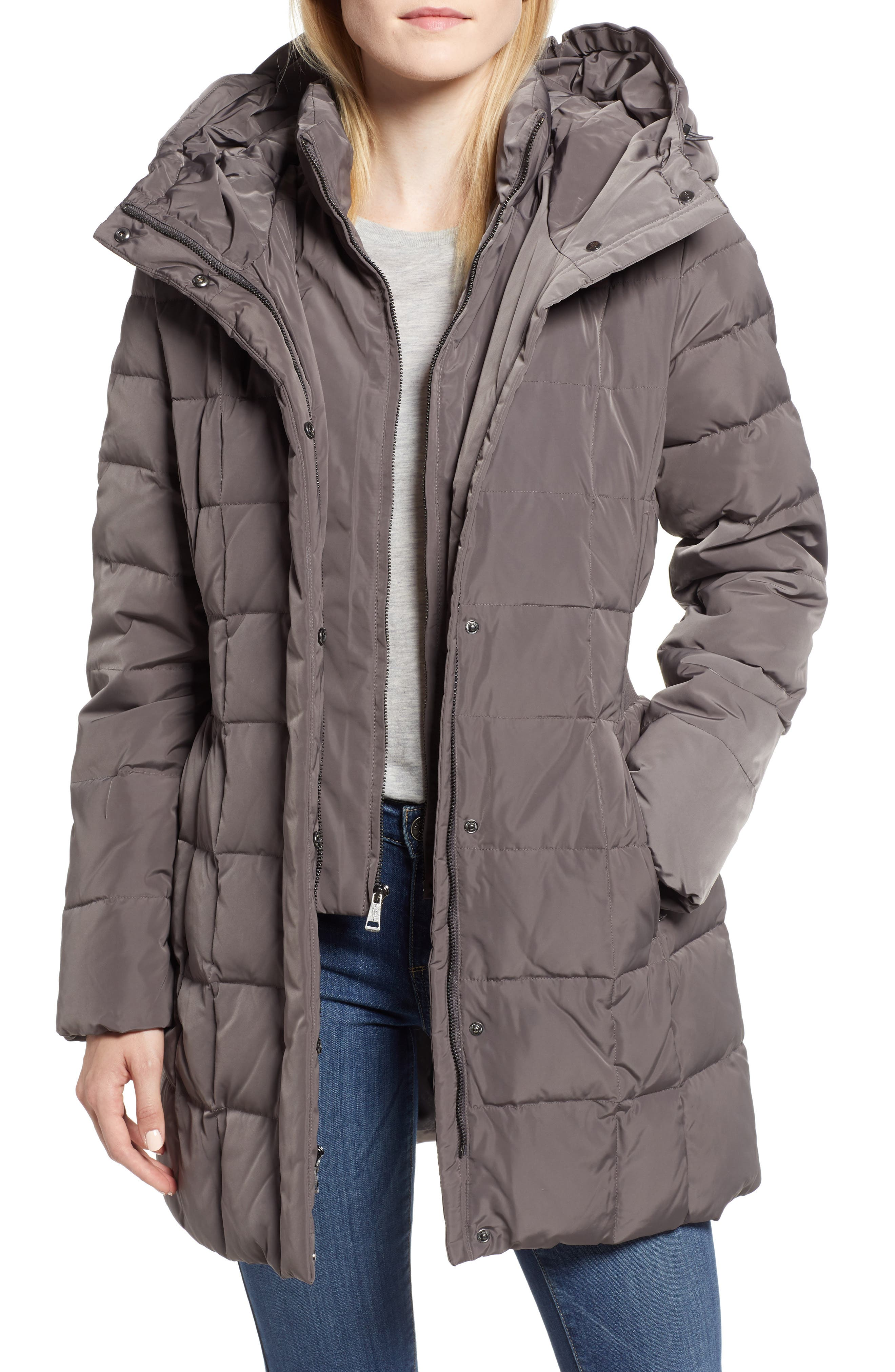 Cole Haan Hooded Down & Feather Jacket,                             Main thumbnail 1, color,                             CARBON