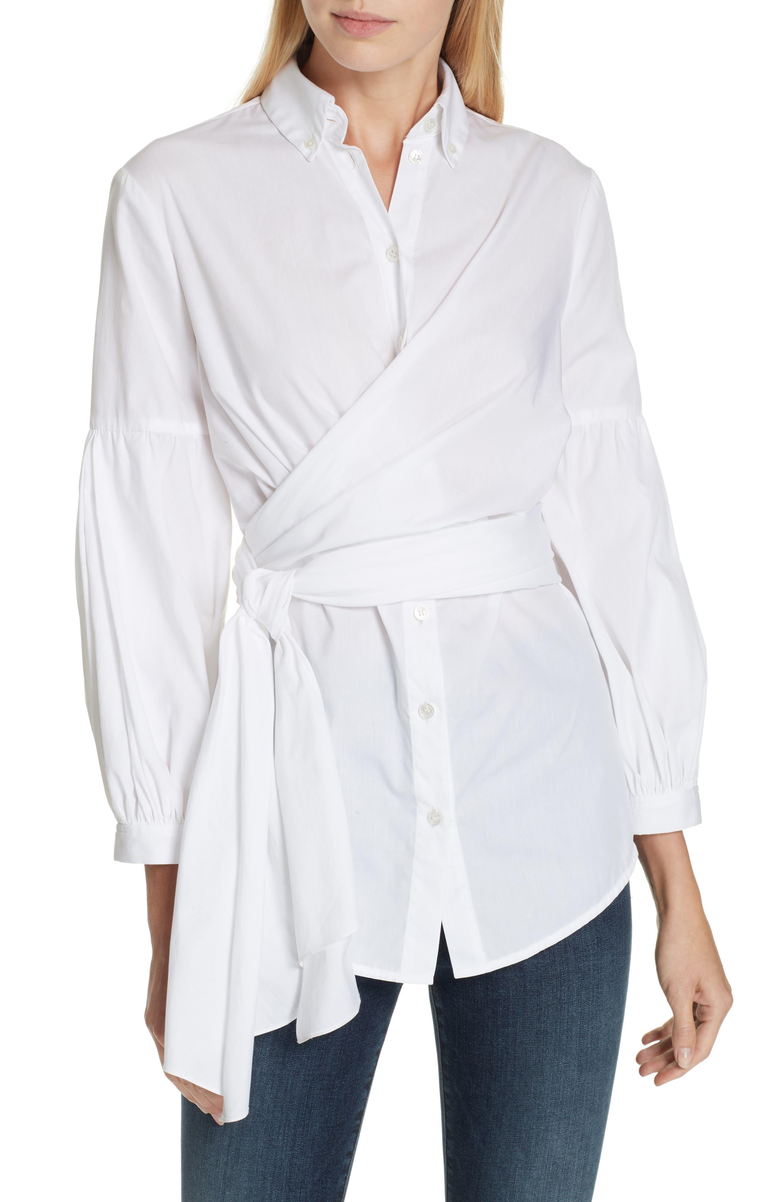 Sinclair Puff Sleeve Wrap Detail Shirt, Main, color, WHITE