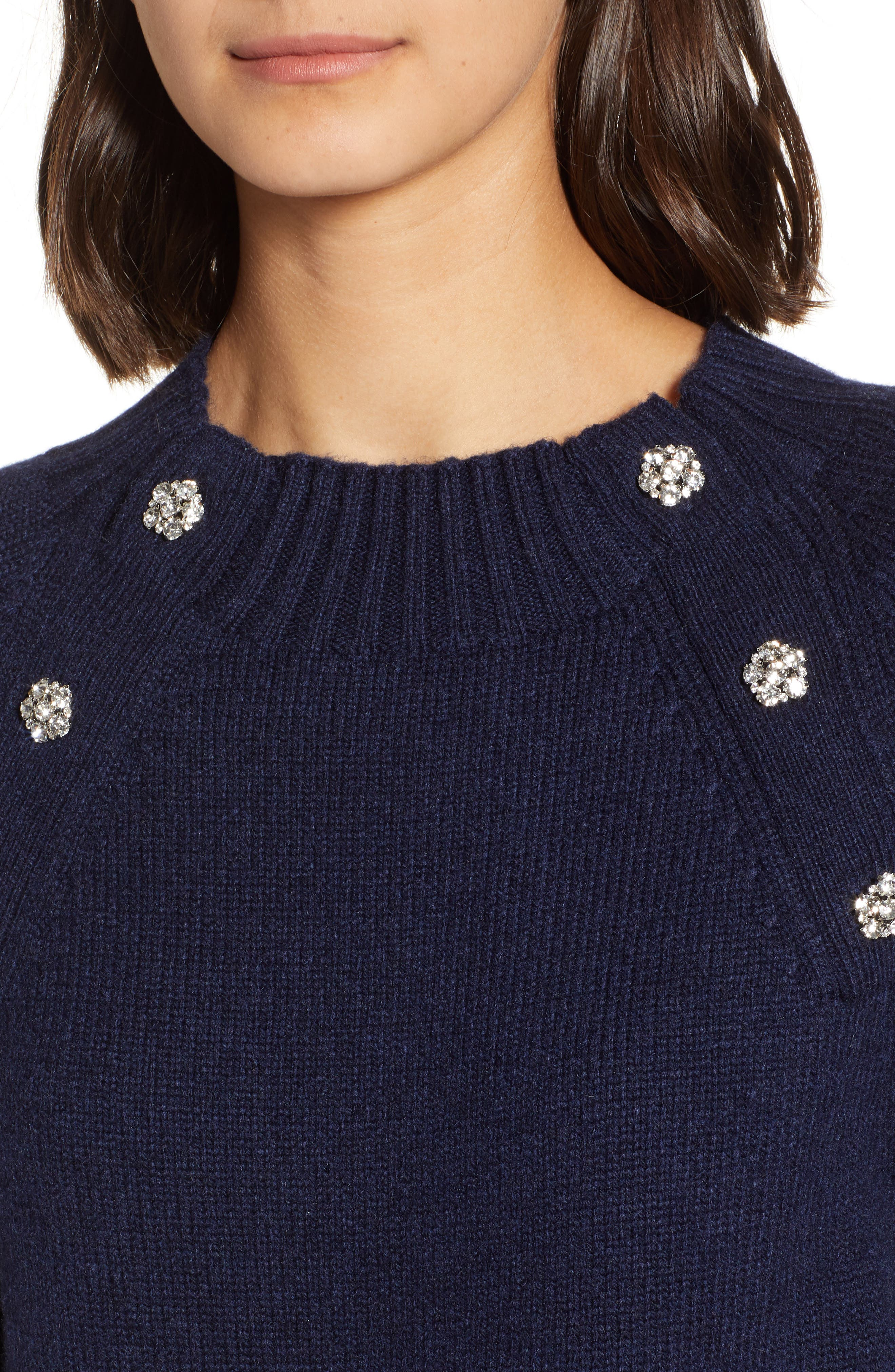 Sweater with Jeweled Buttons,                             Alternate thumbnail 4, color,                             NAVY
