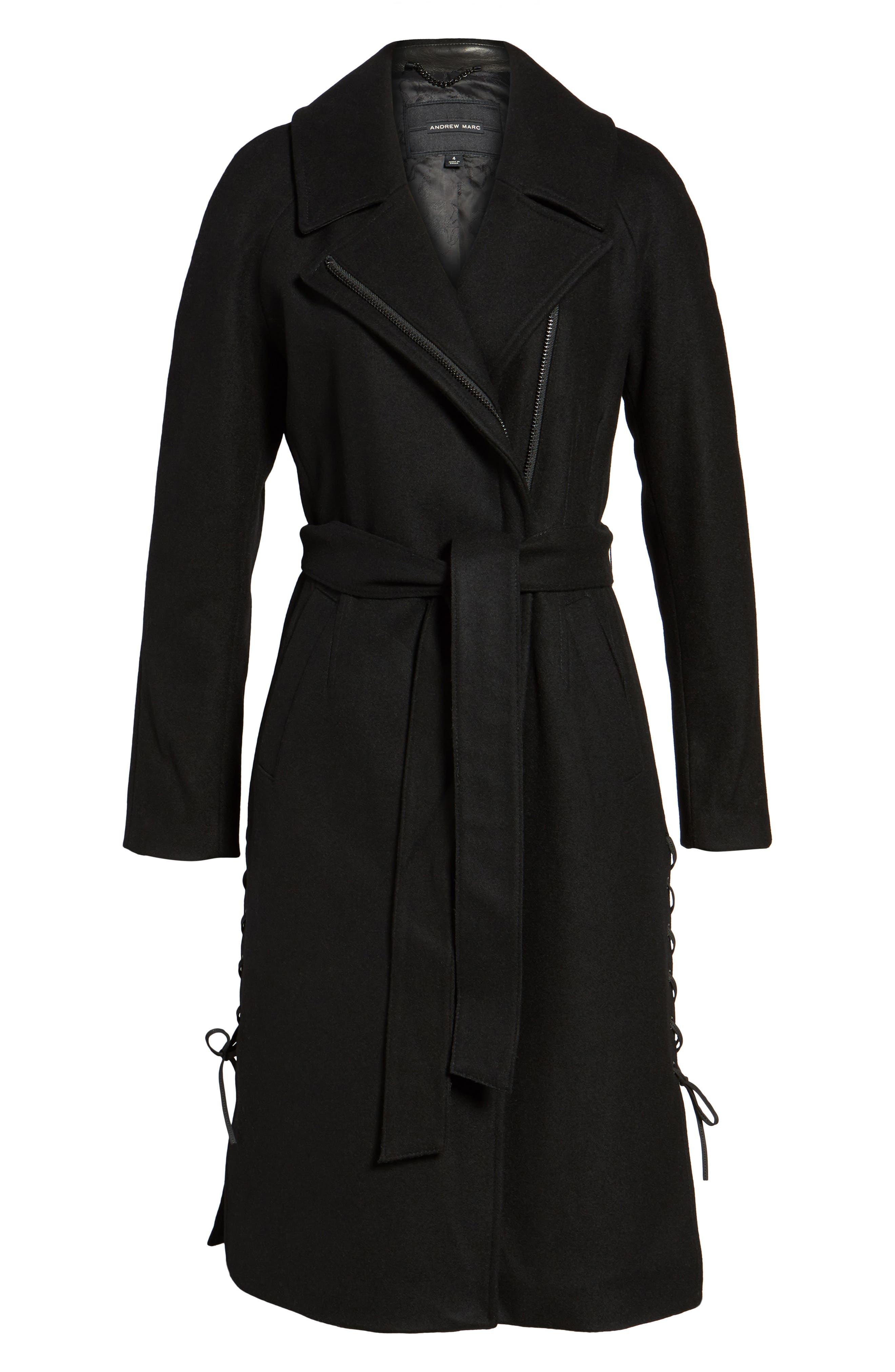 Baylee Asymmetrical Wool Blend Coat,                             Alternate thumbnail 5, color,                             001