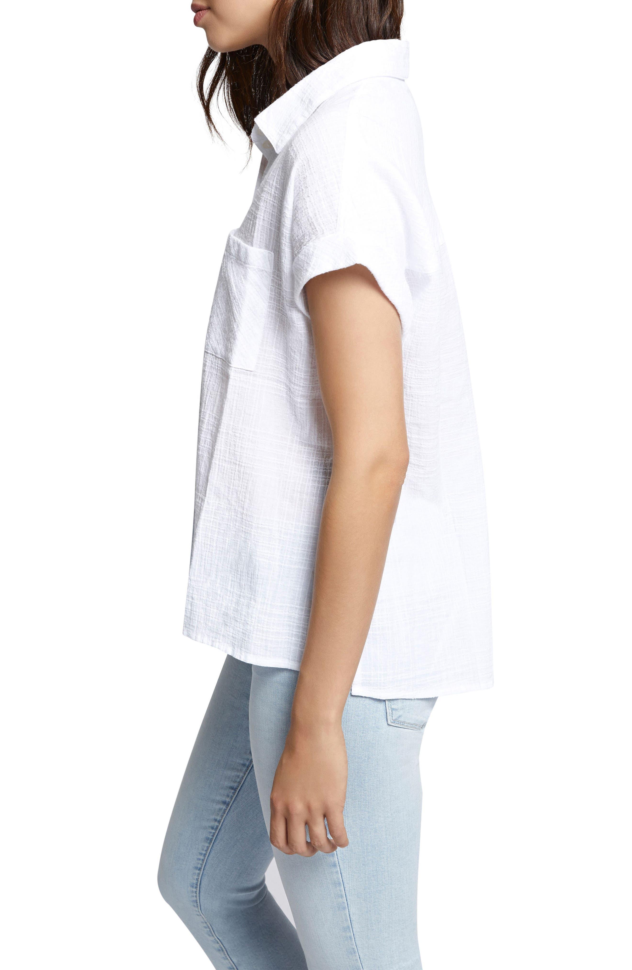 Mod Short Sleeve Boyfriend Shirt,                             Alternate thumbnail 3, color,                             114