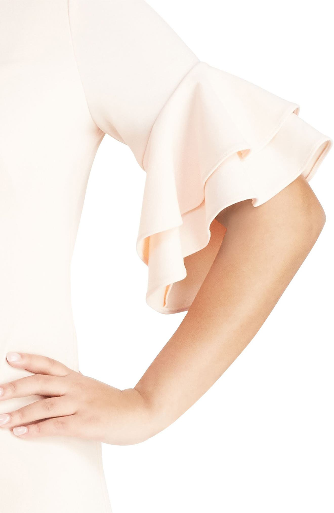 Ruffle Sleeve Crepe Dress,                             Alternate thumbnail 3, color,