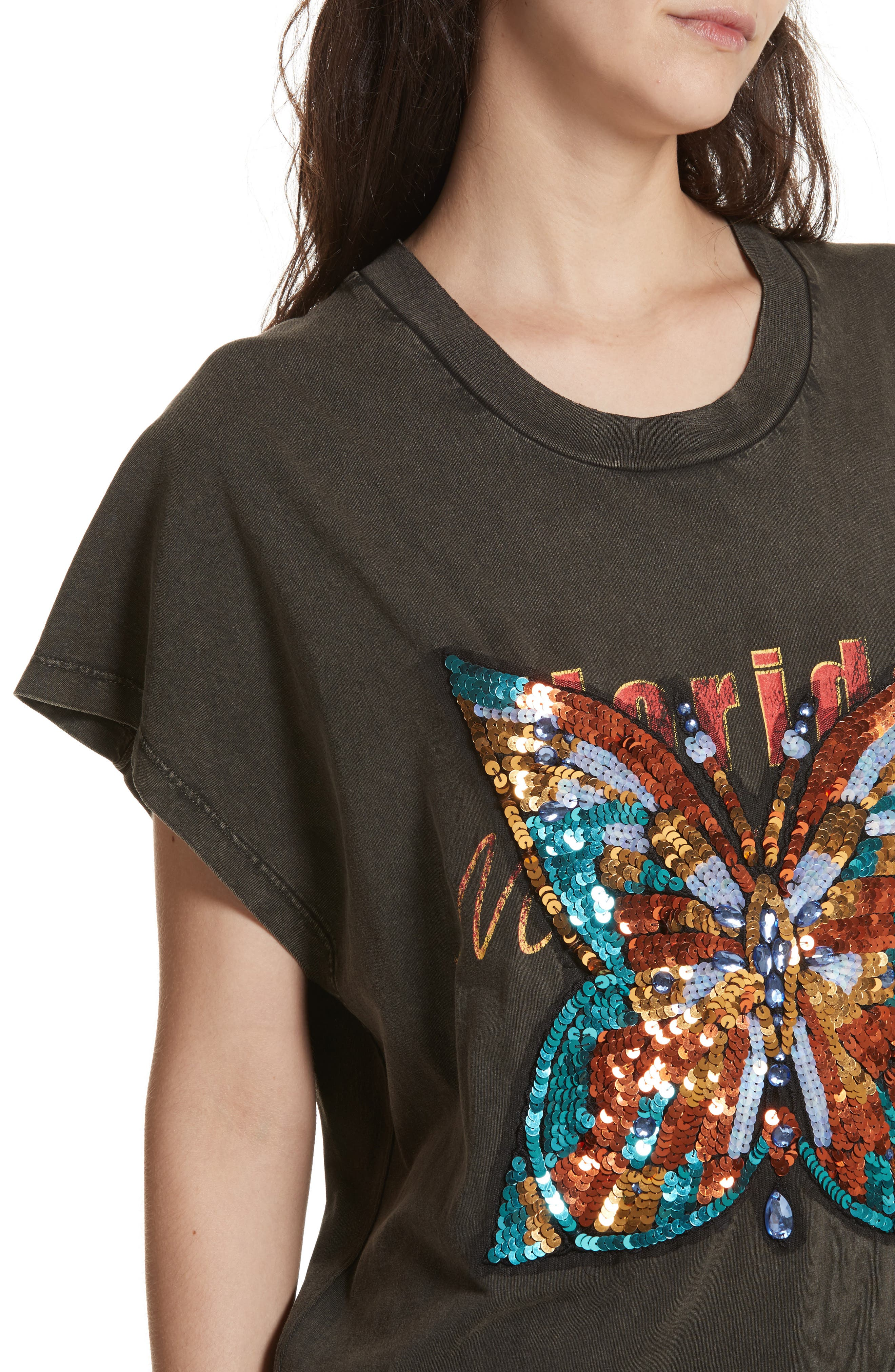 Butterfly Valentine Embellished Tee,                             Alternate thumbnail 4, color,                             001