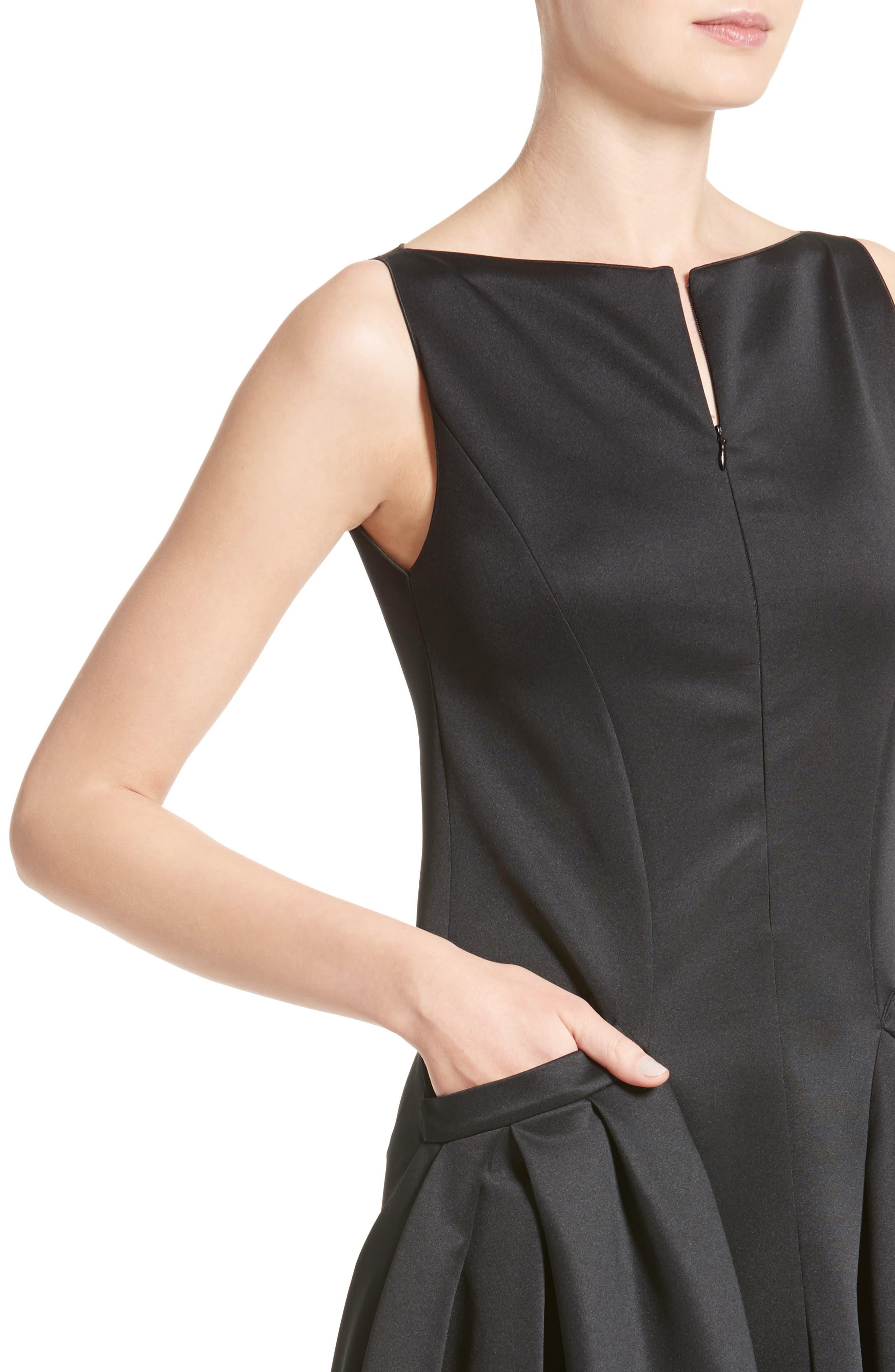 Neoprene Fit & Flare Dress,                             Alternate thumbnail 4, color,                             001