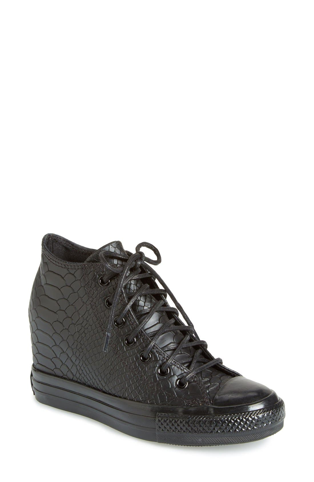 Chuck Taylor<sup>®</sup> All Star<sup>®</sup> 'Embossed Reptile' Wedge Sneaker, Main, color, 001