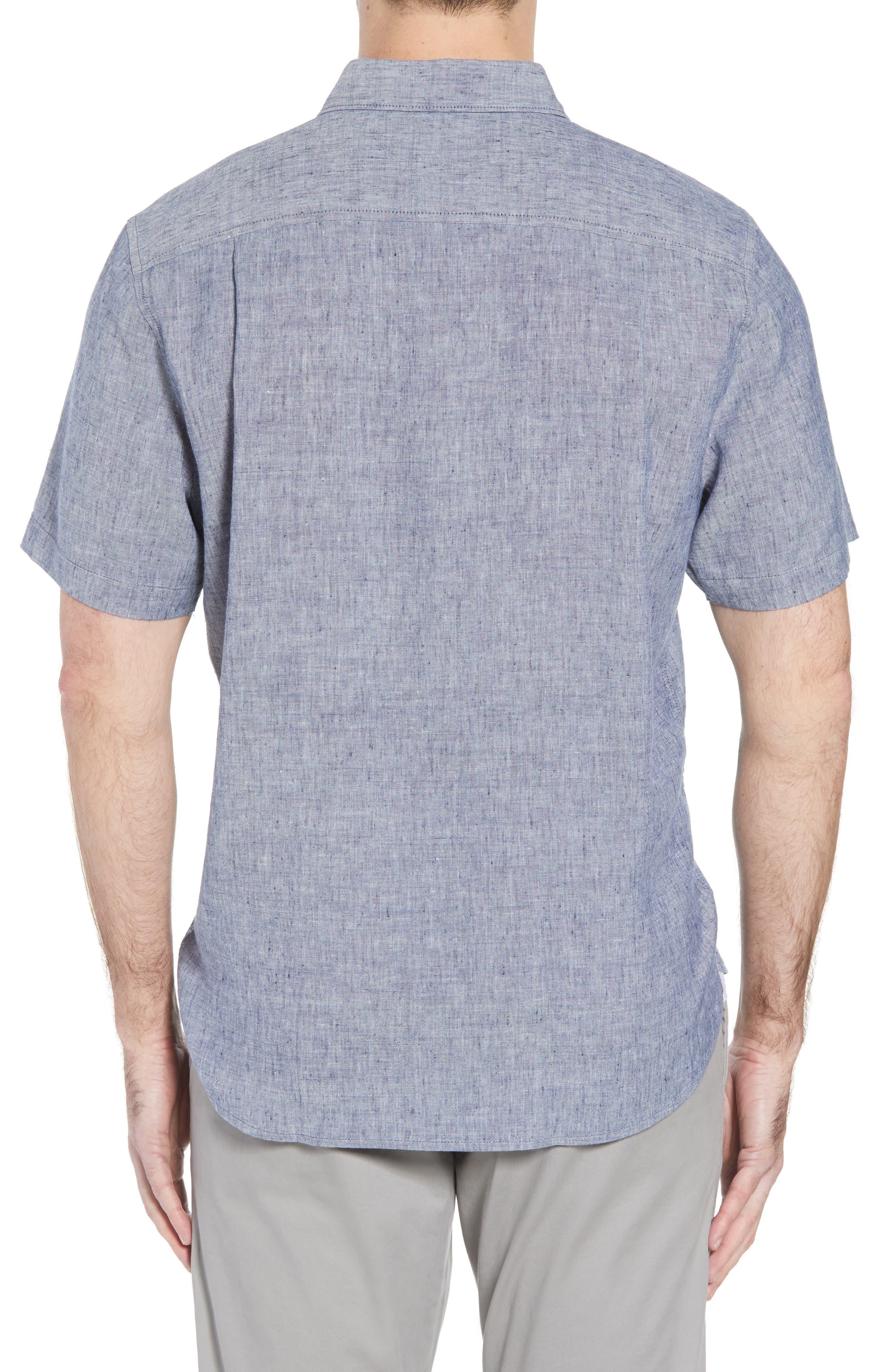 Lanai Tides Linen Blend Sport Shirt,                             Alternate thumbnail 2, color,                             THRONE BLUE