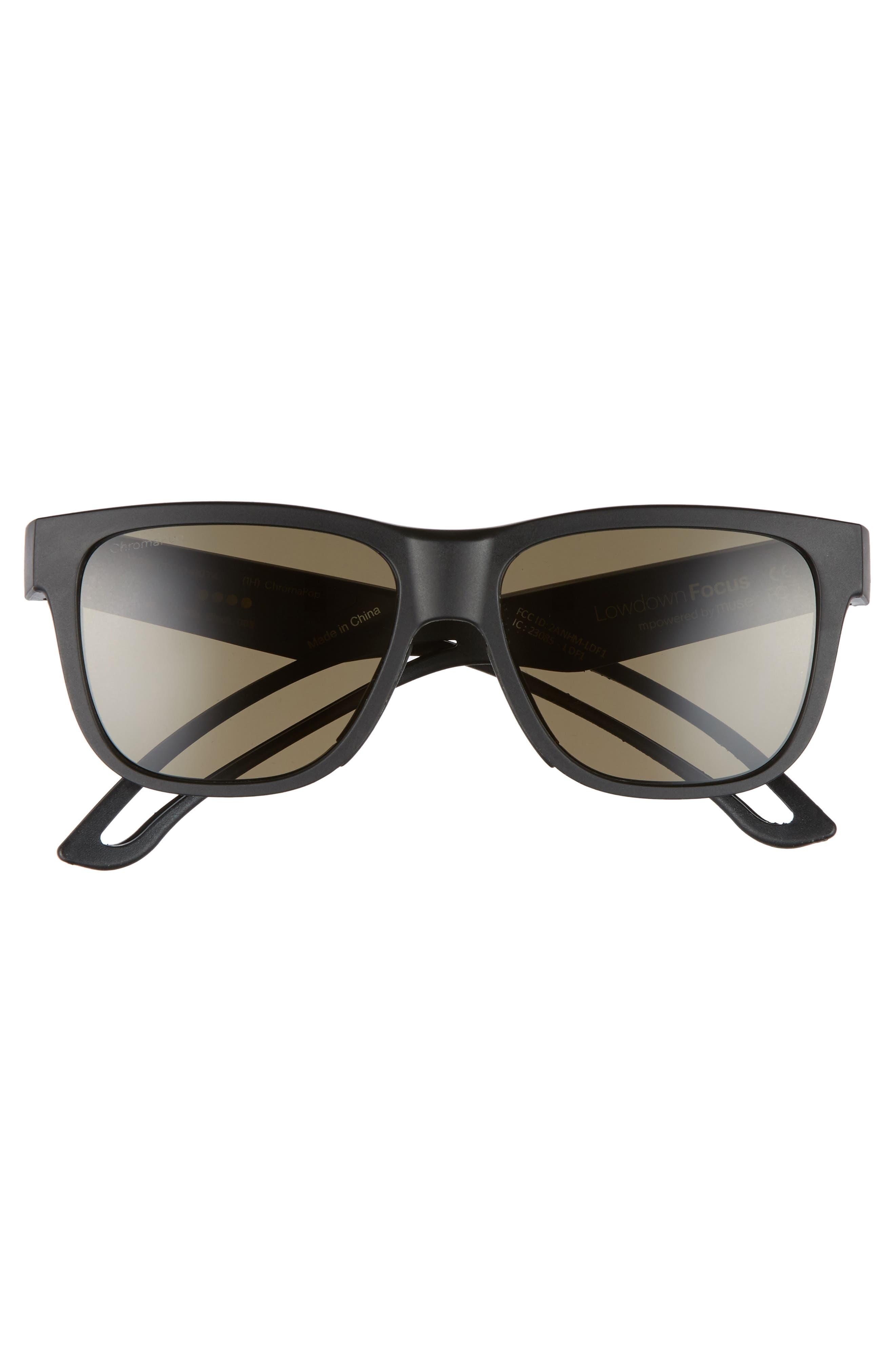 Lowdown Focus 56mm ChromaPop Sunglasses,                             Alternate thumbnail 3, color,                             MATTE BLACK/ GREY GREEN