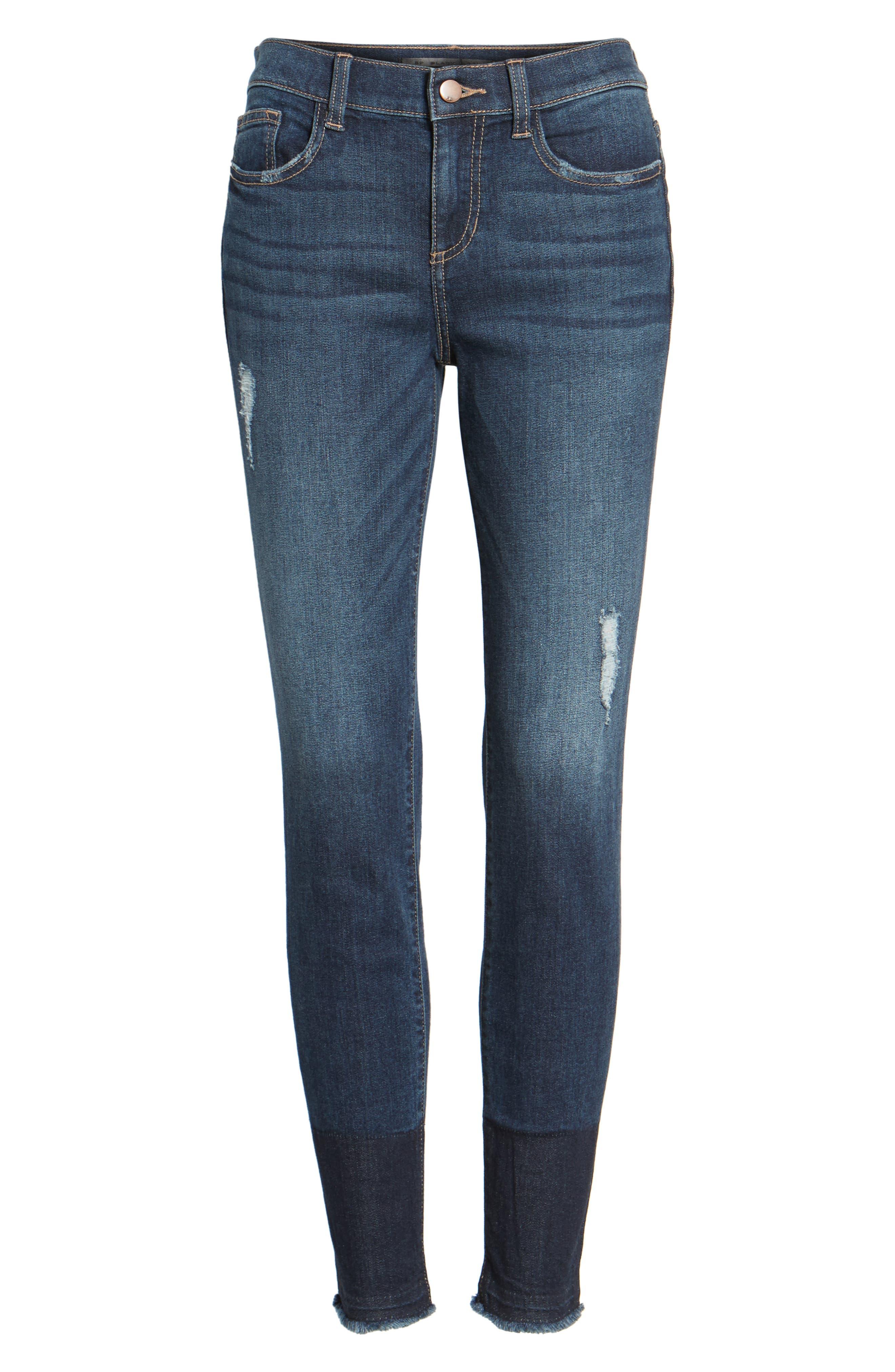 Colorblock Hem Skinny Jeans,                             Alternate thumbnail 6, color,                             401