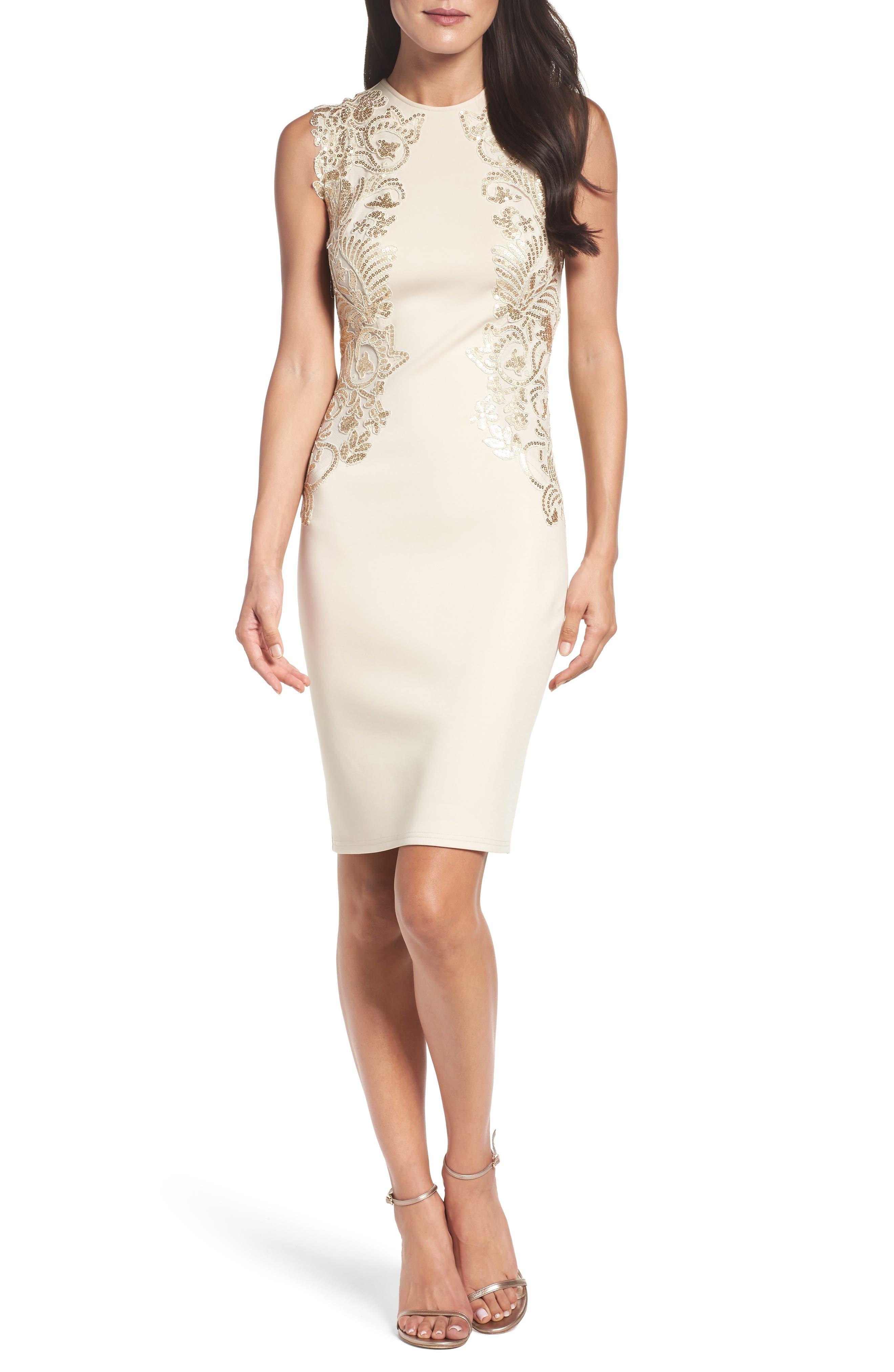Sequin Appliqué Neoprene Sheath Dress,                             Alternate thumbnail 5, color,                             250