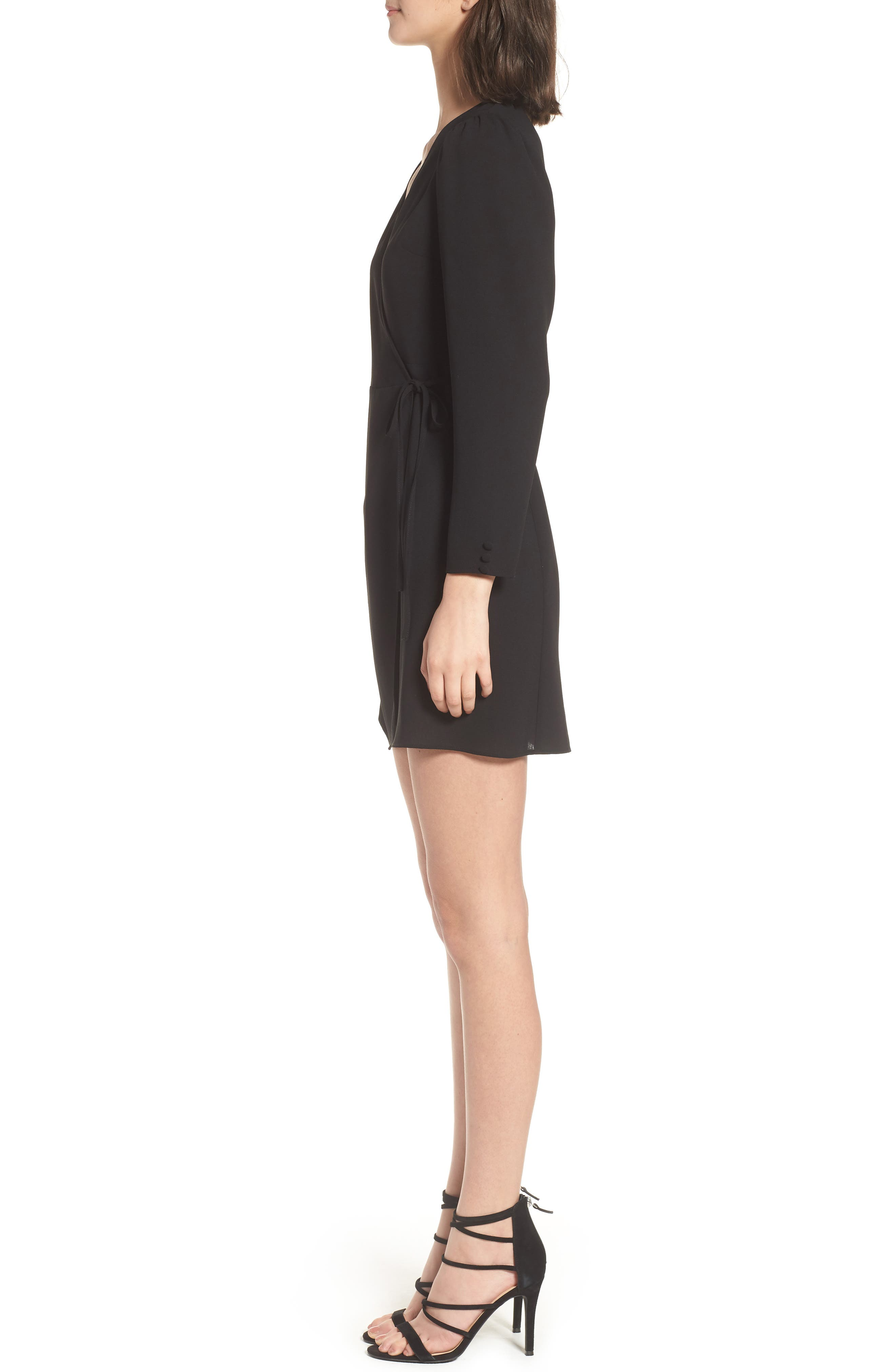 Crepe Wrap Minidress,                             Alternate thumbnail 3, color,                             001