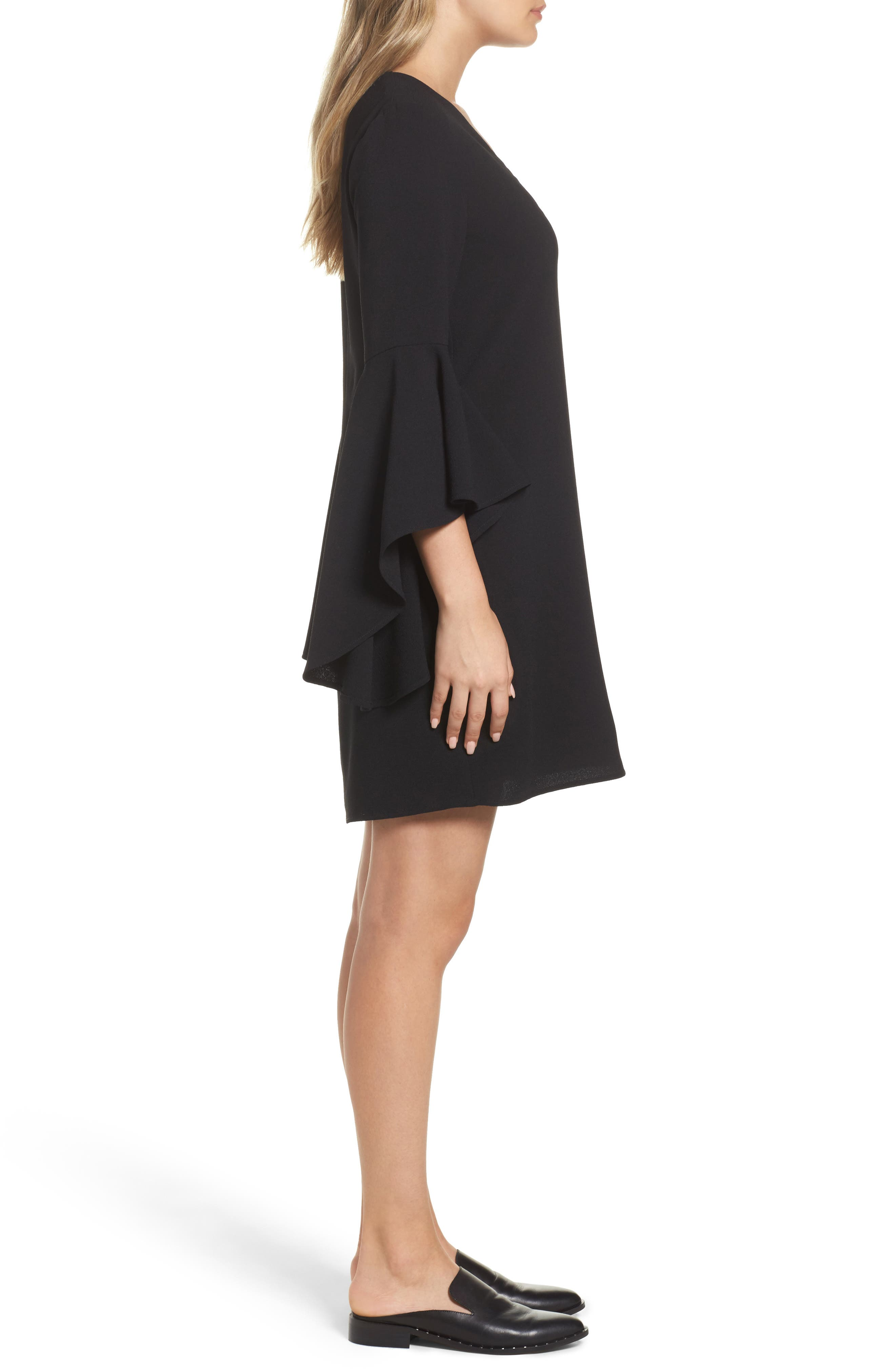 Bell Sleeve Shift Dress,                             Alternate thumbnail 3, color,                             001