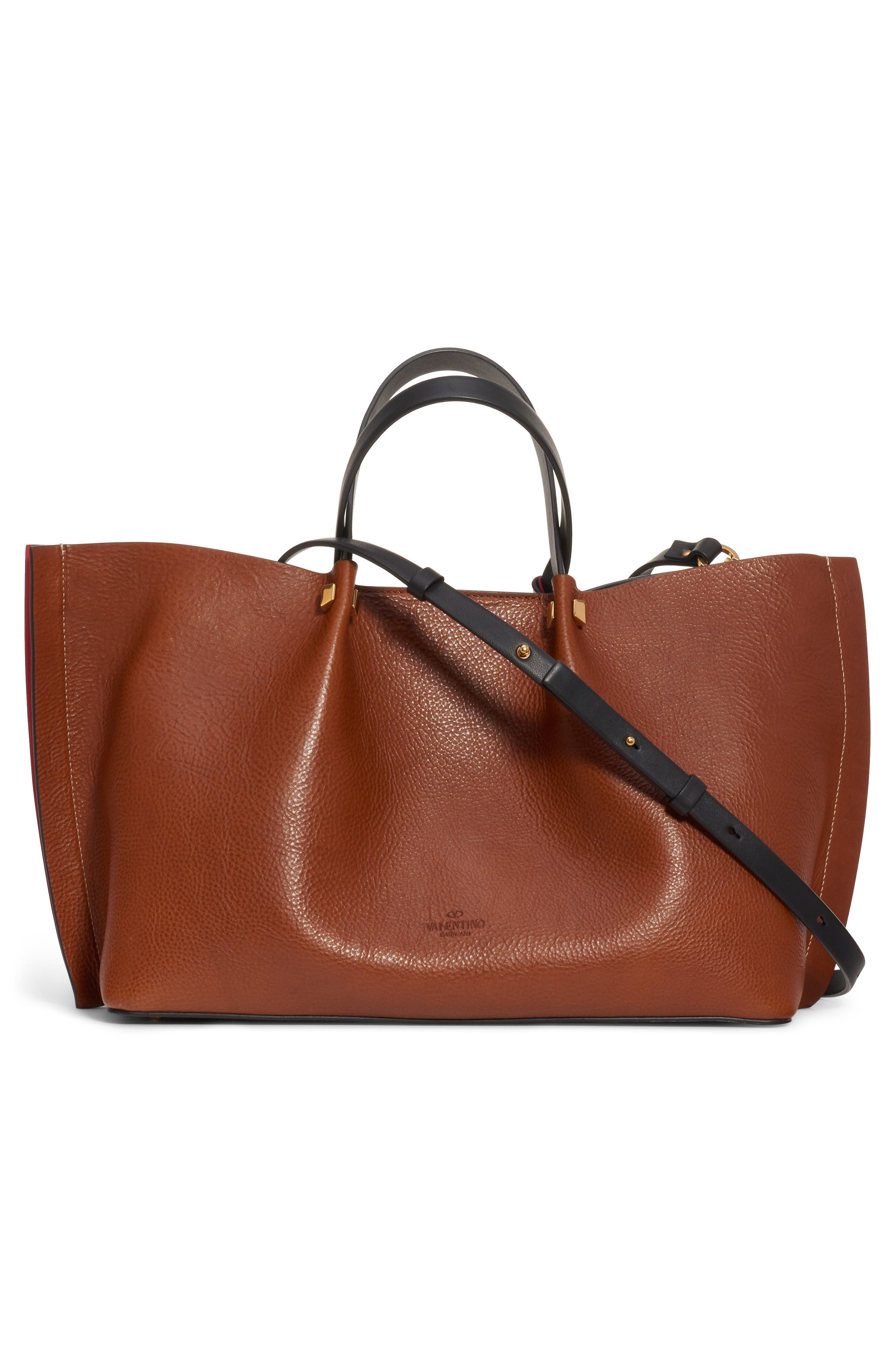 VALENTINO GARAVANI,                             Medium Go Logo Leather Tote,                             Alternate thumbnail 2, color,                             TAN/ NERO/ ROUGE PUR