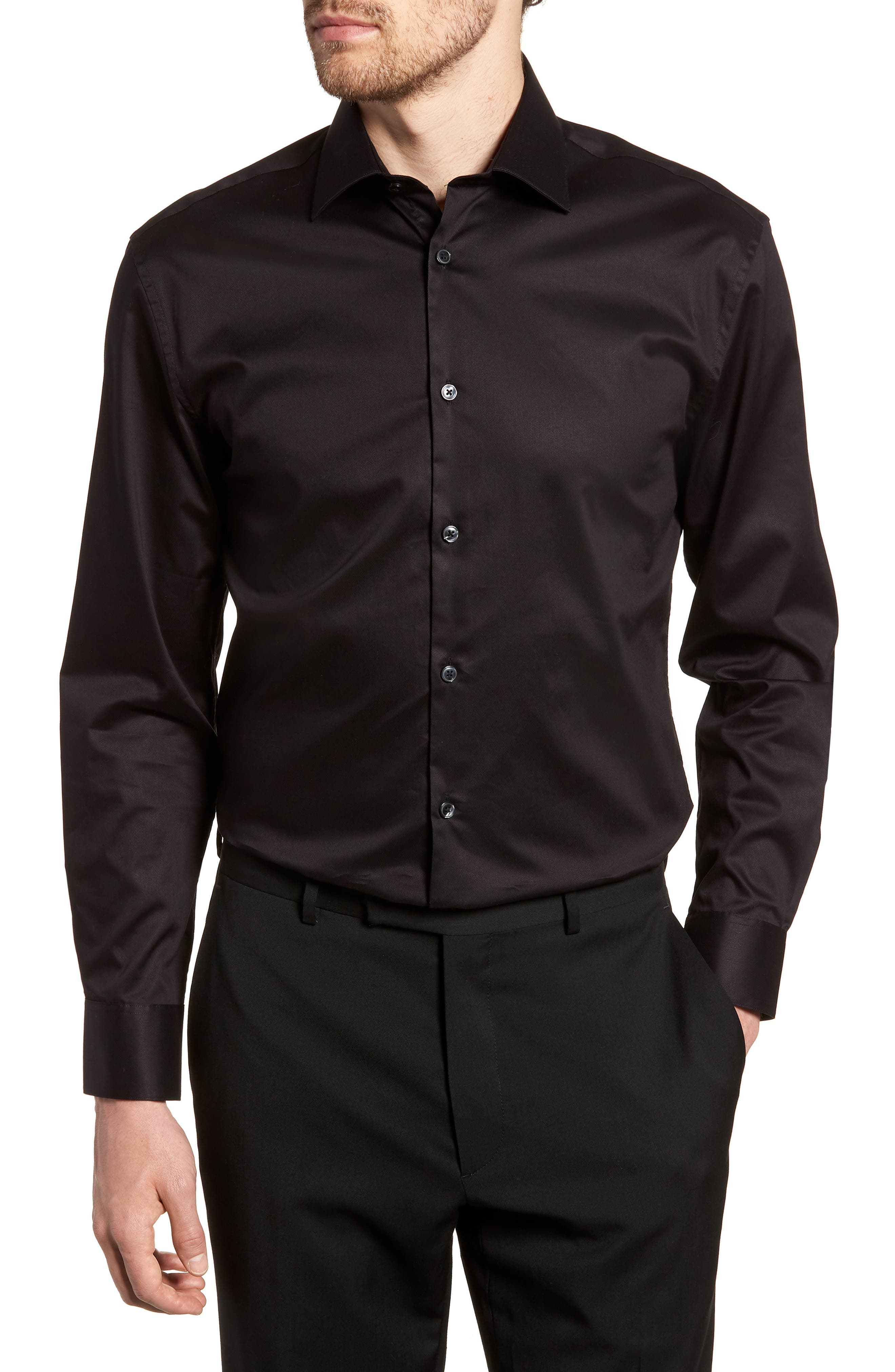 Slim Fit Stretch Solid Dress Shirt,                             Main thumbnail 1, color,                             BLACK