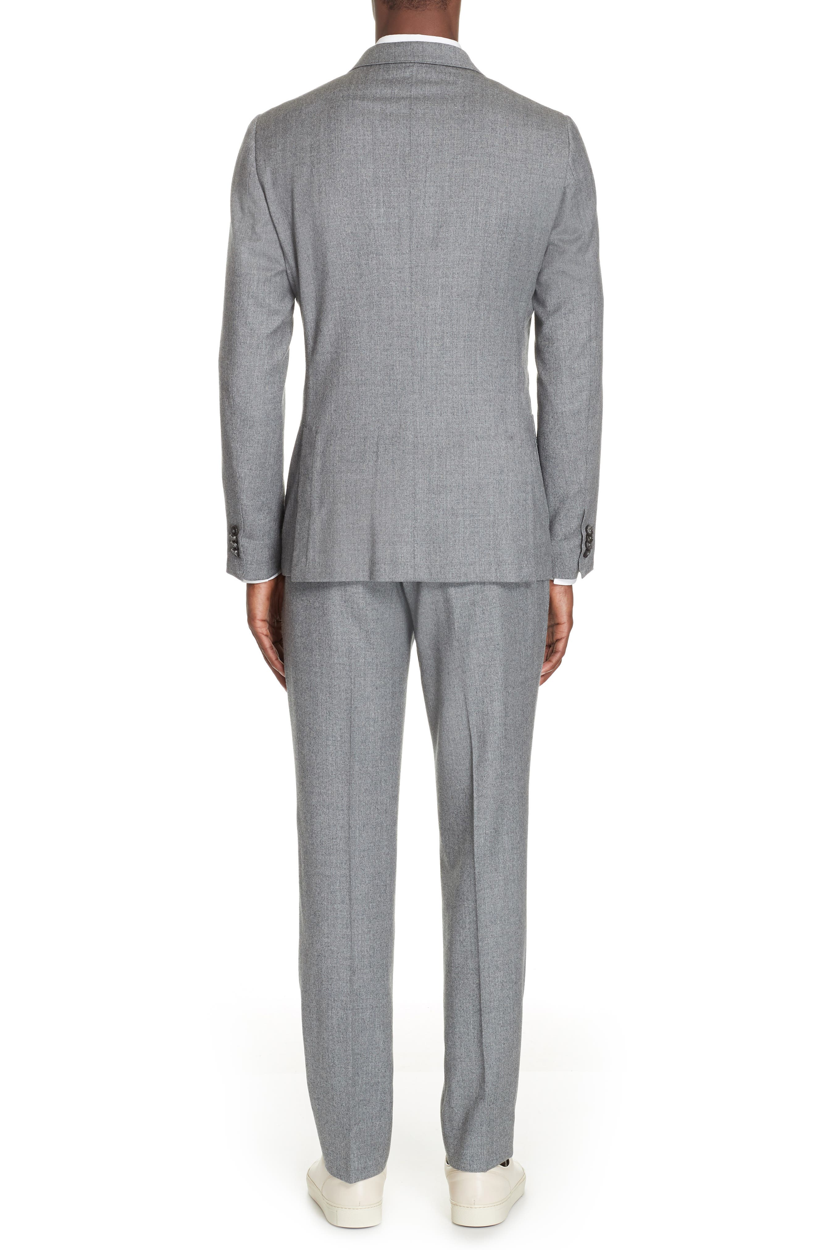 Wash and Go Trim Fit Solid Wool Suit,                             Alternate thumbnail 2, color,                             SILVER