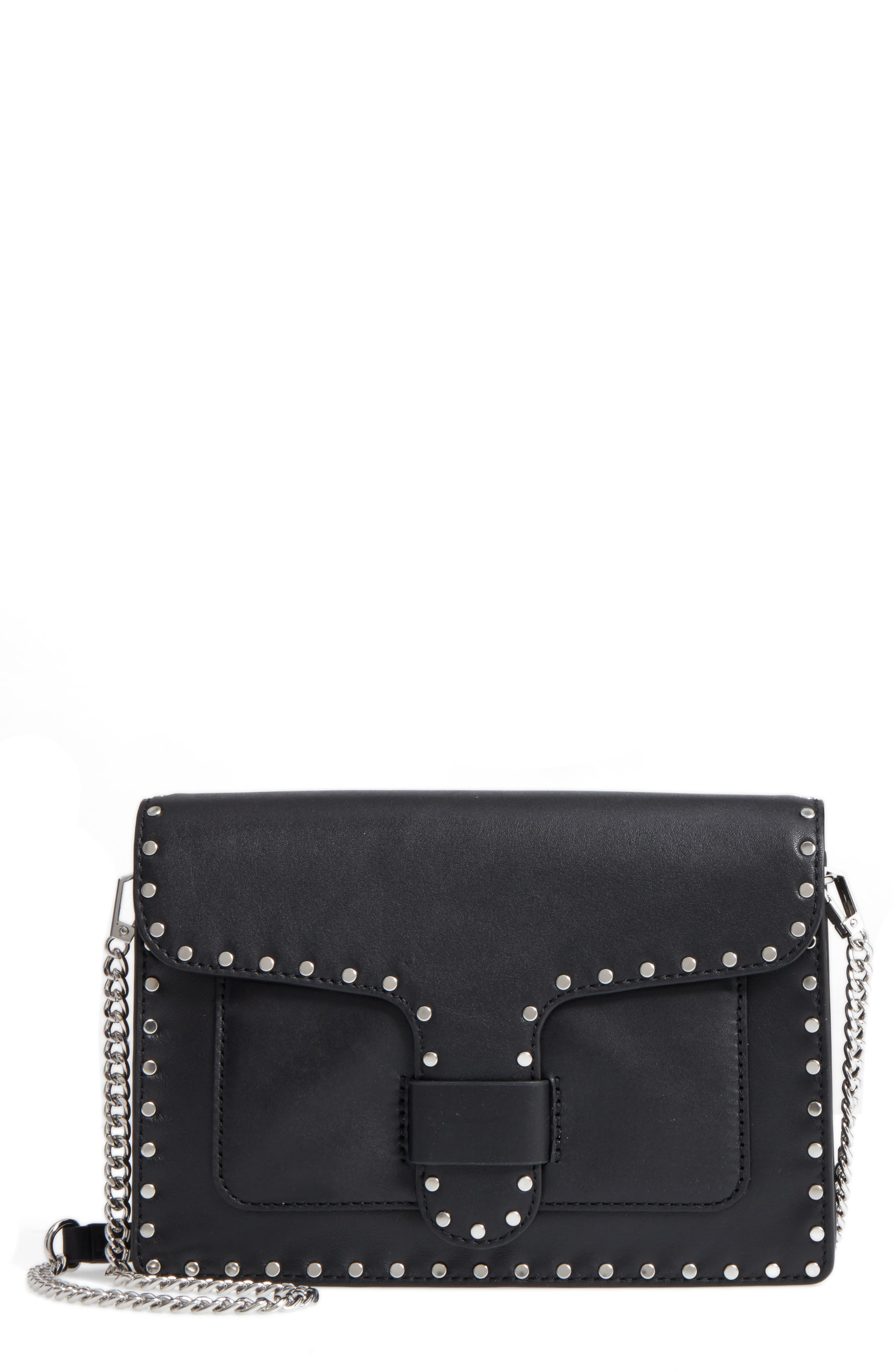 Medium Midnighter Leather Crossbody Bag,                         Main,                         color, 001