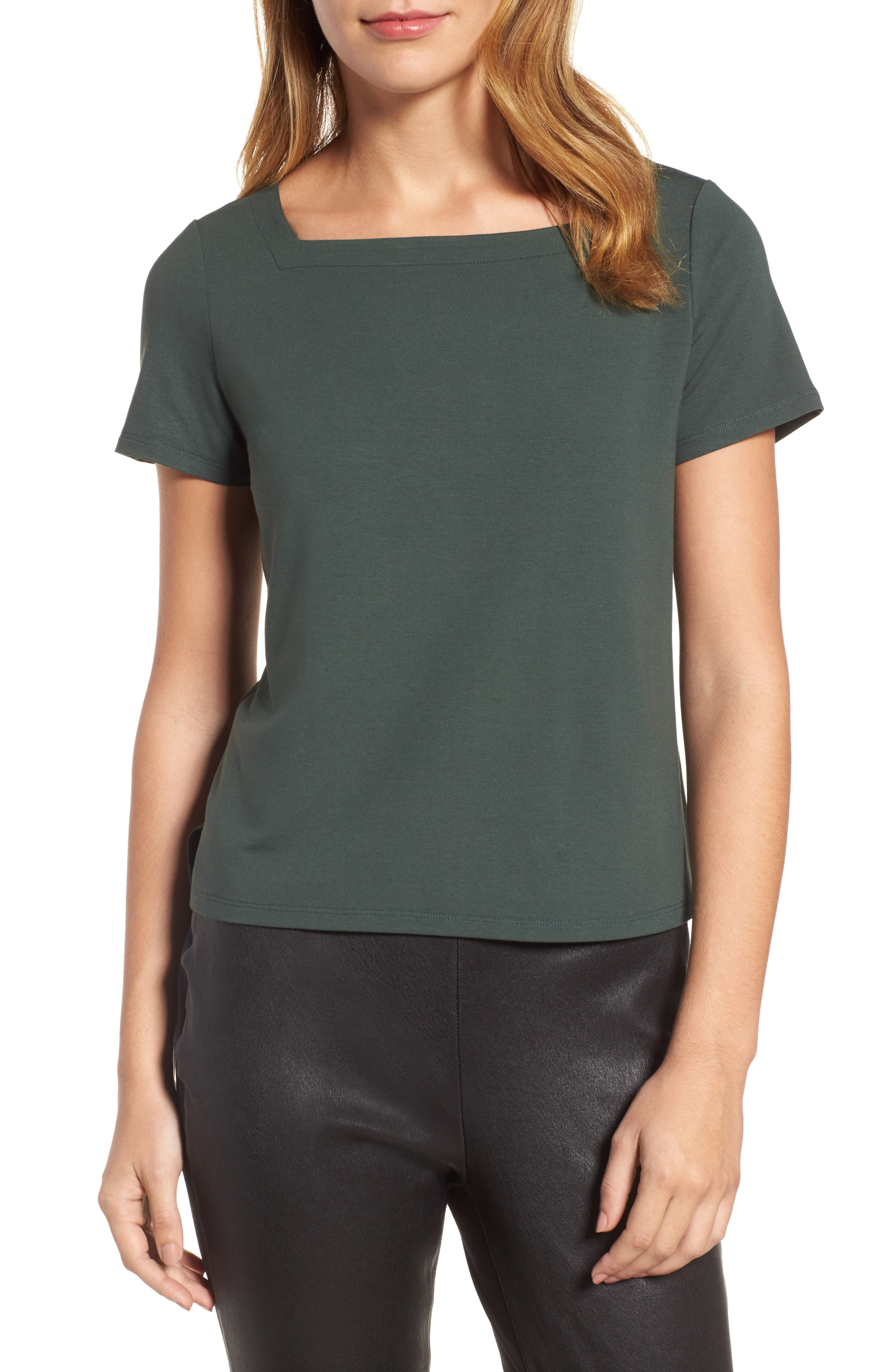 Square Neck Jersey Top,                         Main,                         color,