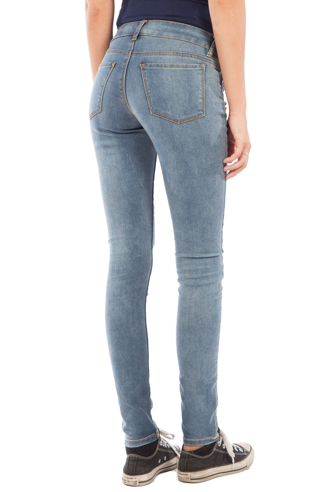 Skinny Maternity Jeans,                             Alternate thumbnail 2, color,                             MEDIUM BLUE WASH