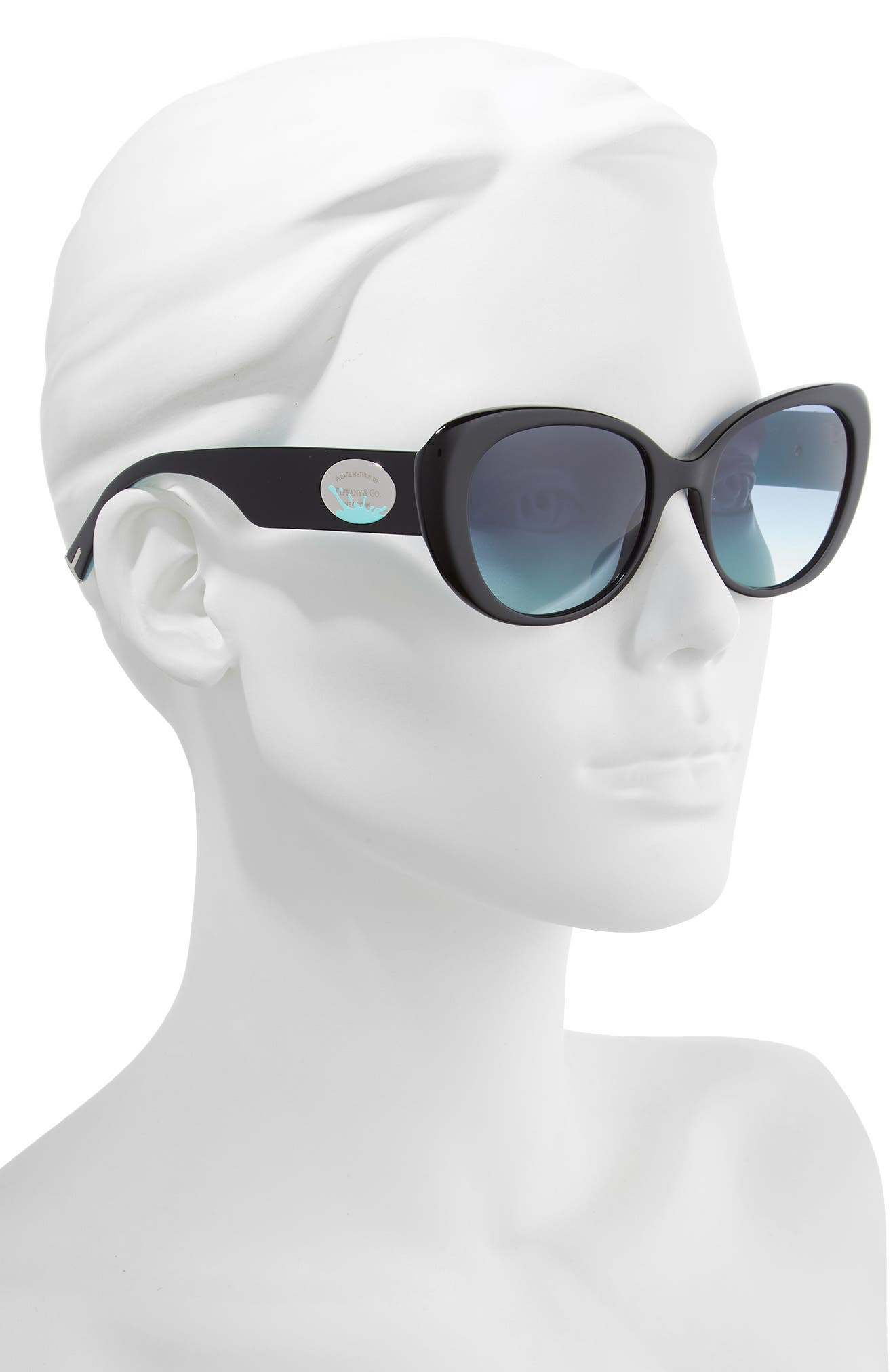 TIFFANY & CO.,                             Return to Tiffany 54mm Oval Sunglasses,                             Alternate thumbnail 2, color,                             BLACK/ BLUE GRADIENT