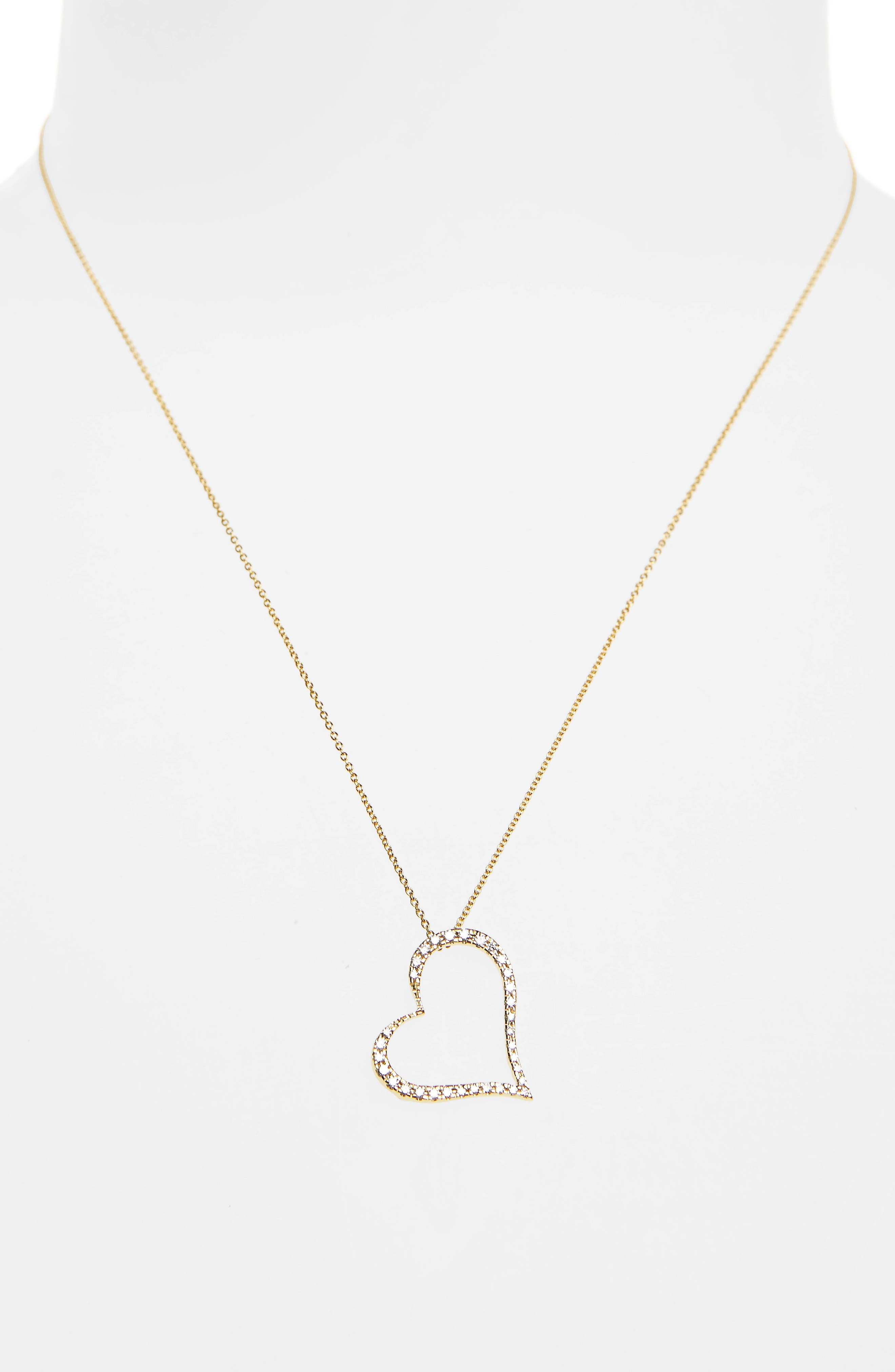 ROBERTO COIN,                             Slanted Diamond Heart Pendant Necklace,                             Alternate thumbnail 2, color,                             710