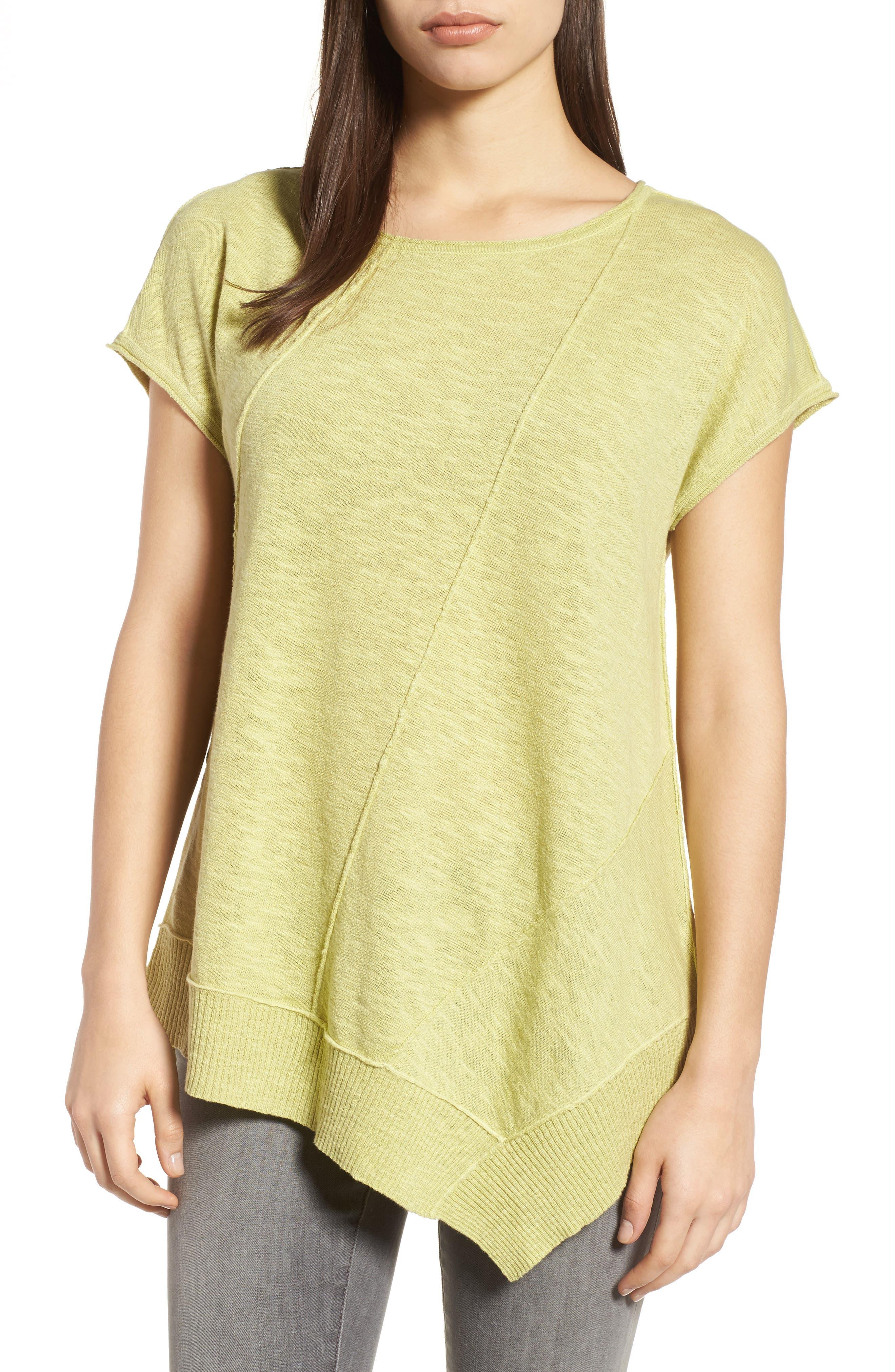 Cap Sleeve Organic Linen & Cotton Scoop Neck Top,                             Main thumbnail 5, color,