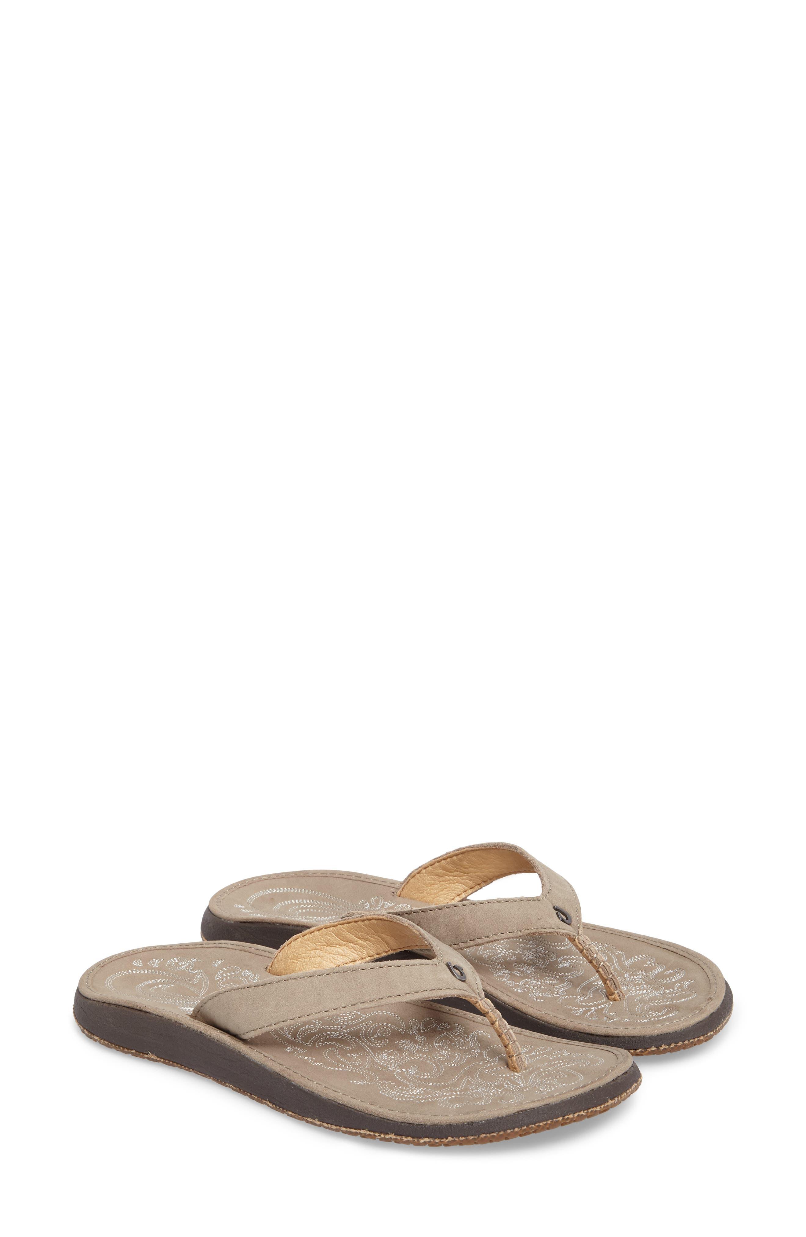 OLUKAI 'Paniolo' Thong Sandal, Main, color, TAUPE/ TAUPE LEATHER