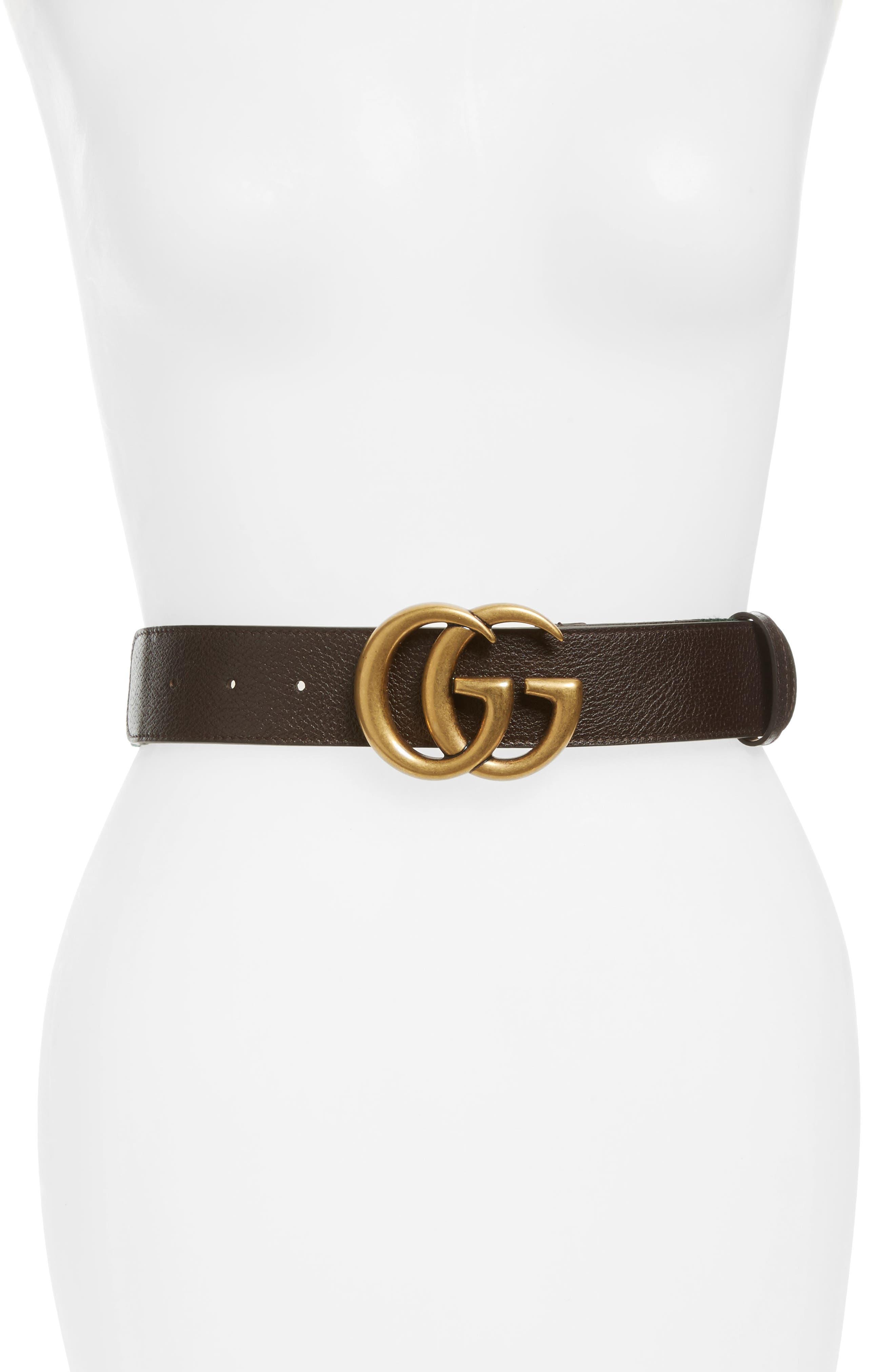 Double G Leather & Web Belt,                             Main thumbnail 1, color,