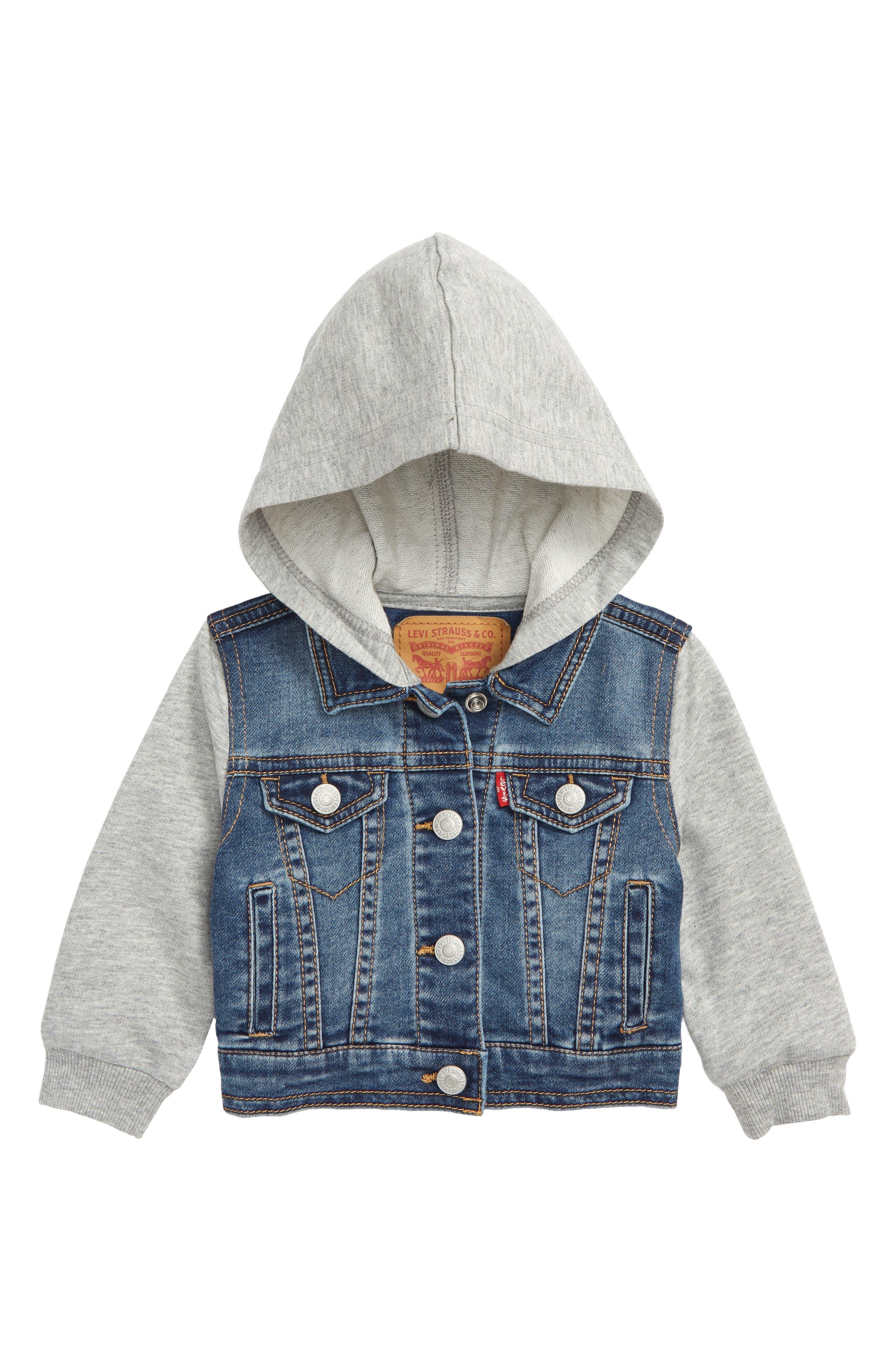 Levi's<sup>®</sup> Indigo Hooded Trucker Jacket,                             Main thumbnail 1, color,                             452