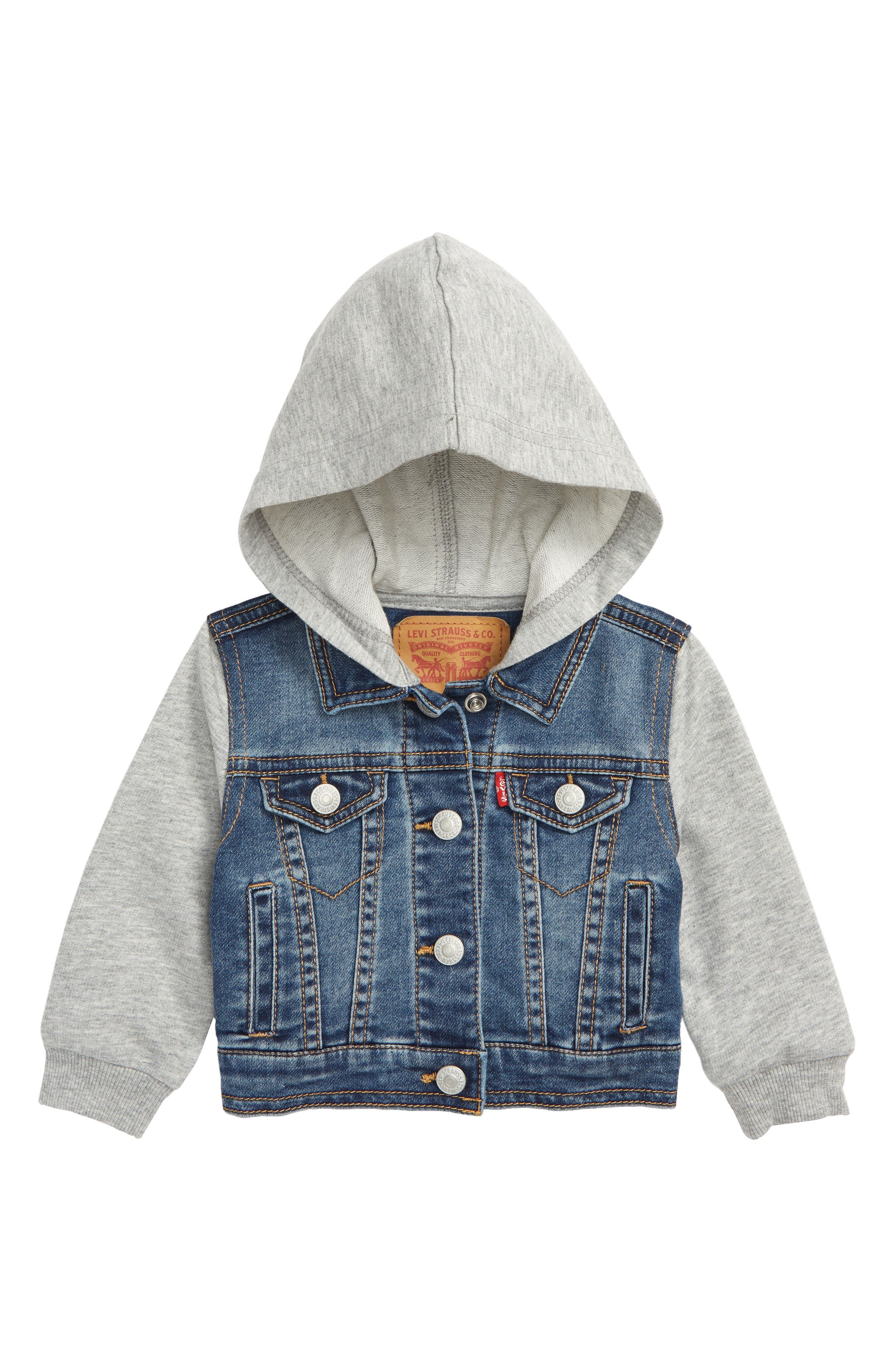 Levi's<sup>®</sup> Indigo Hooded Trucker Jacket,                         Main,                         color, 452