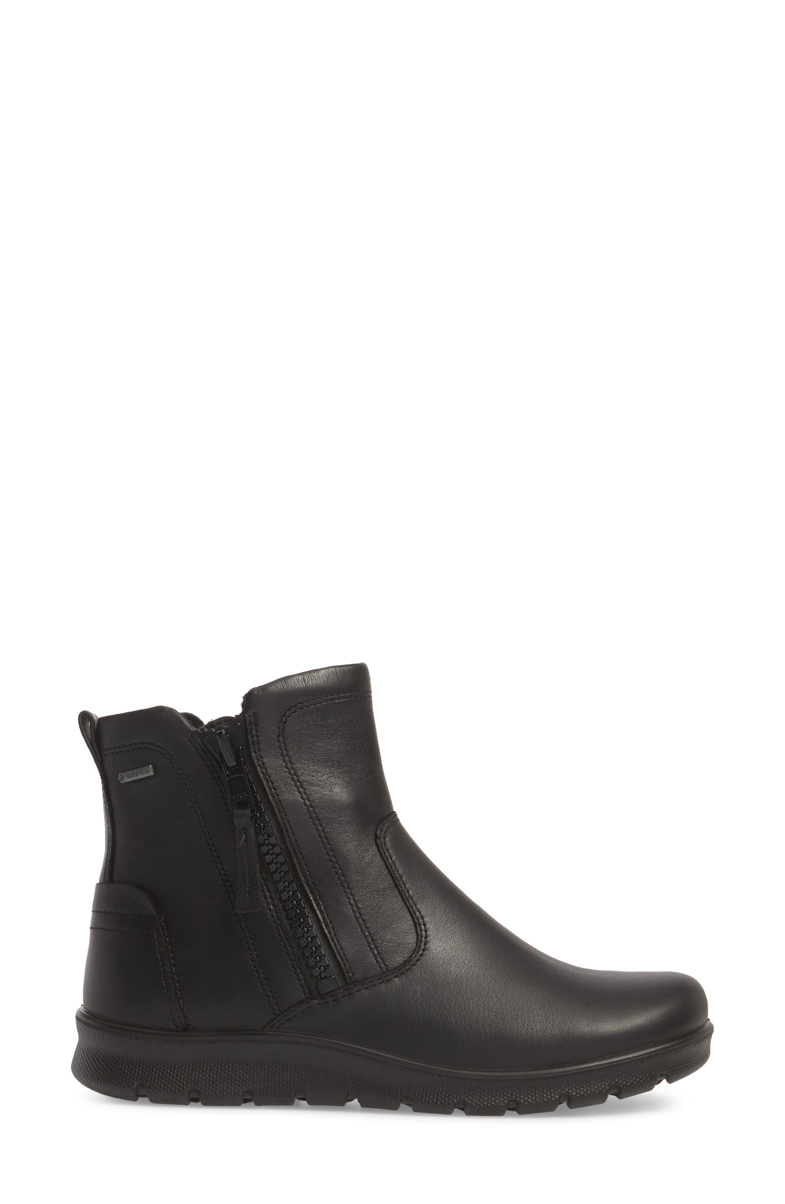 Babett Gore-Tex<sup>®</sup> Bootie,                             Alternate thumbnail 3, color,                             BLACK LEATHER
