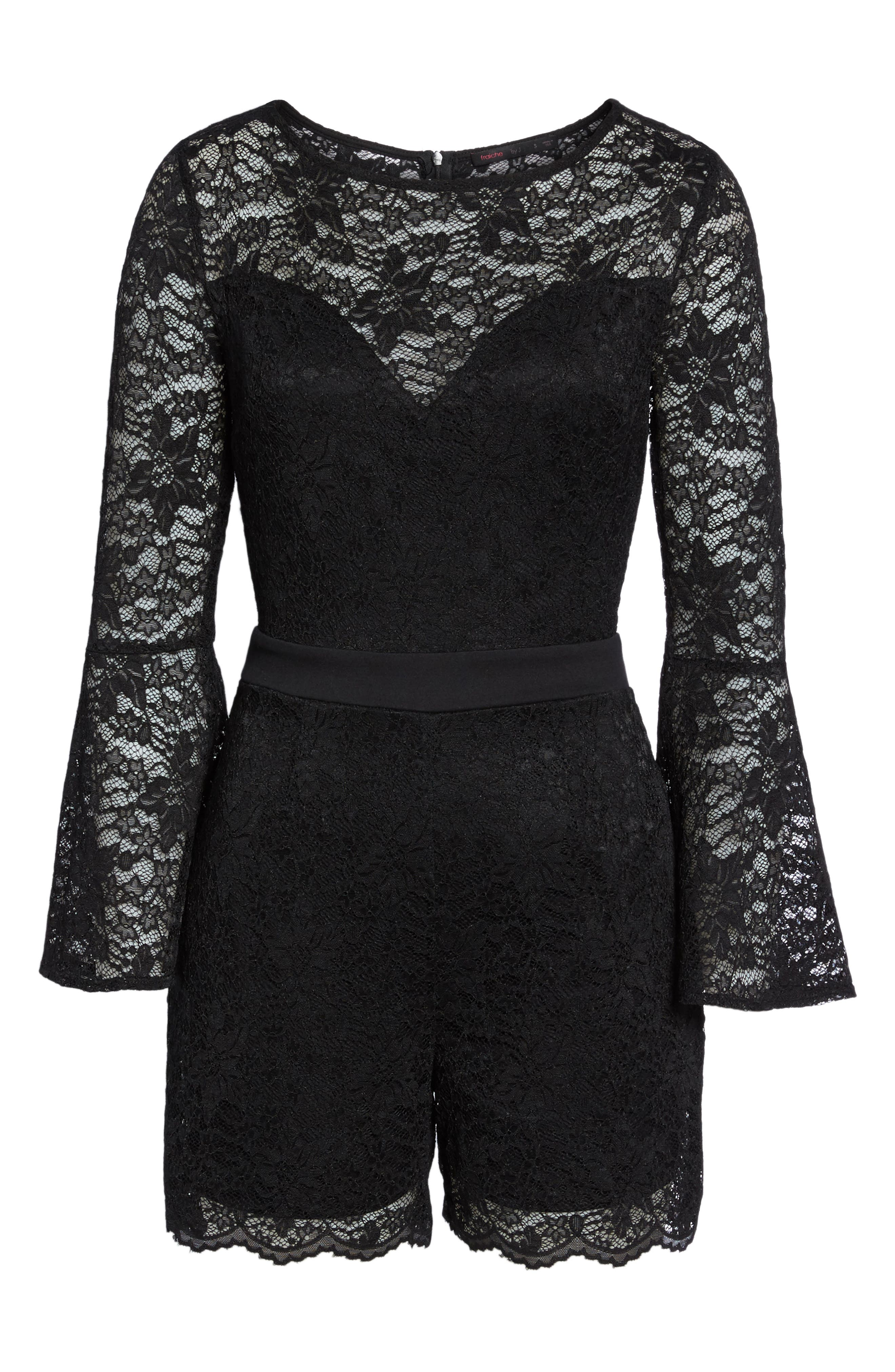 Bell Sleeve Lace Romper,                             Alternate thumbnail 6, color,                             002