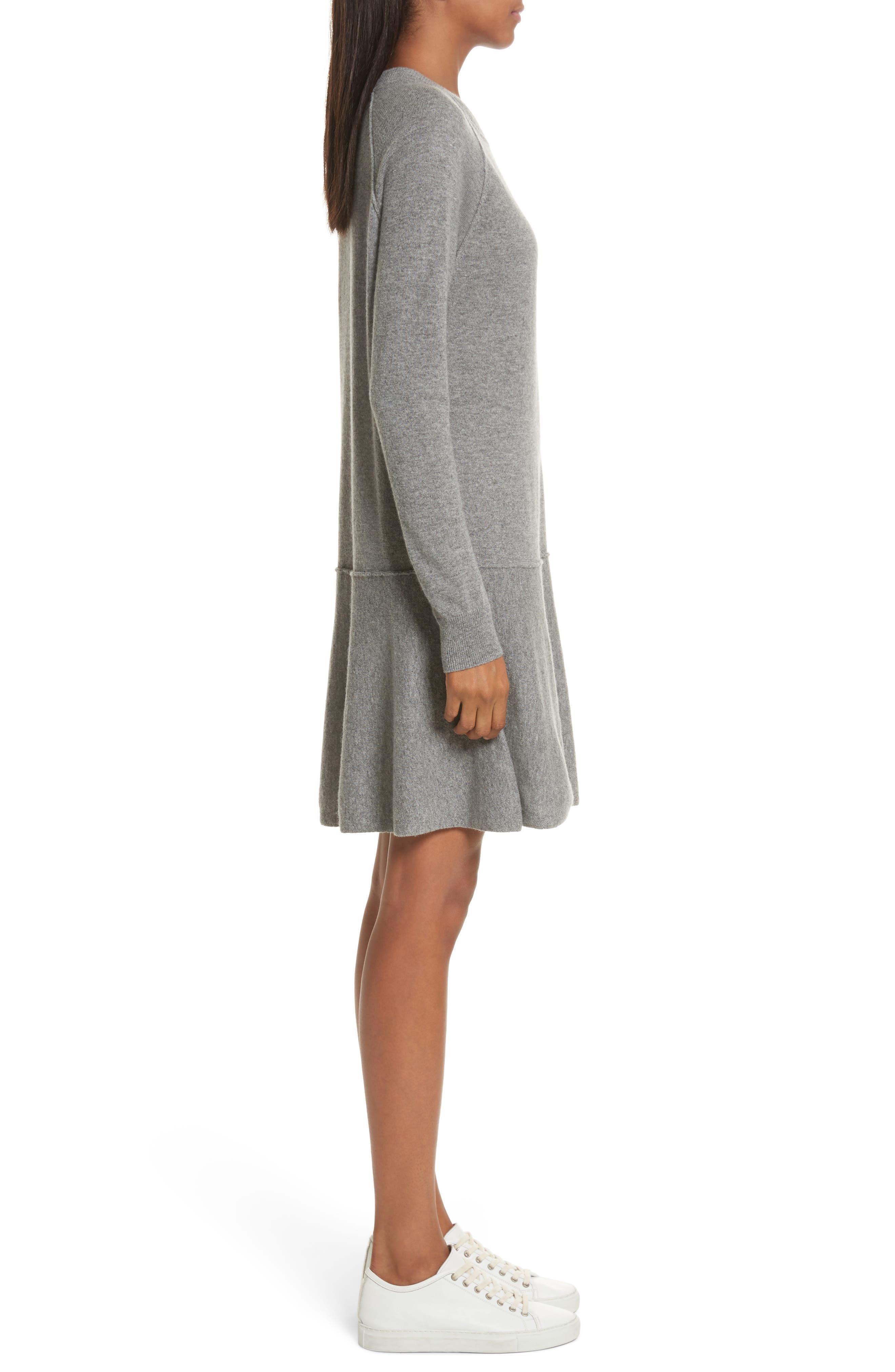 Cashmere Drop Waist Sweater Dress,                             Alternate thumbnail 3, color,                             027
