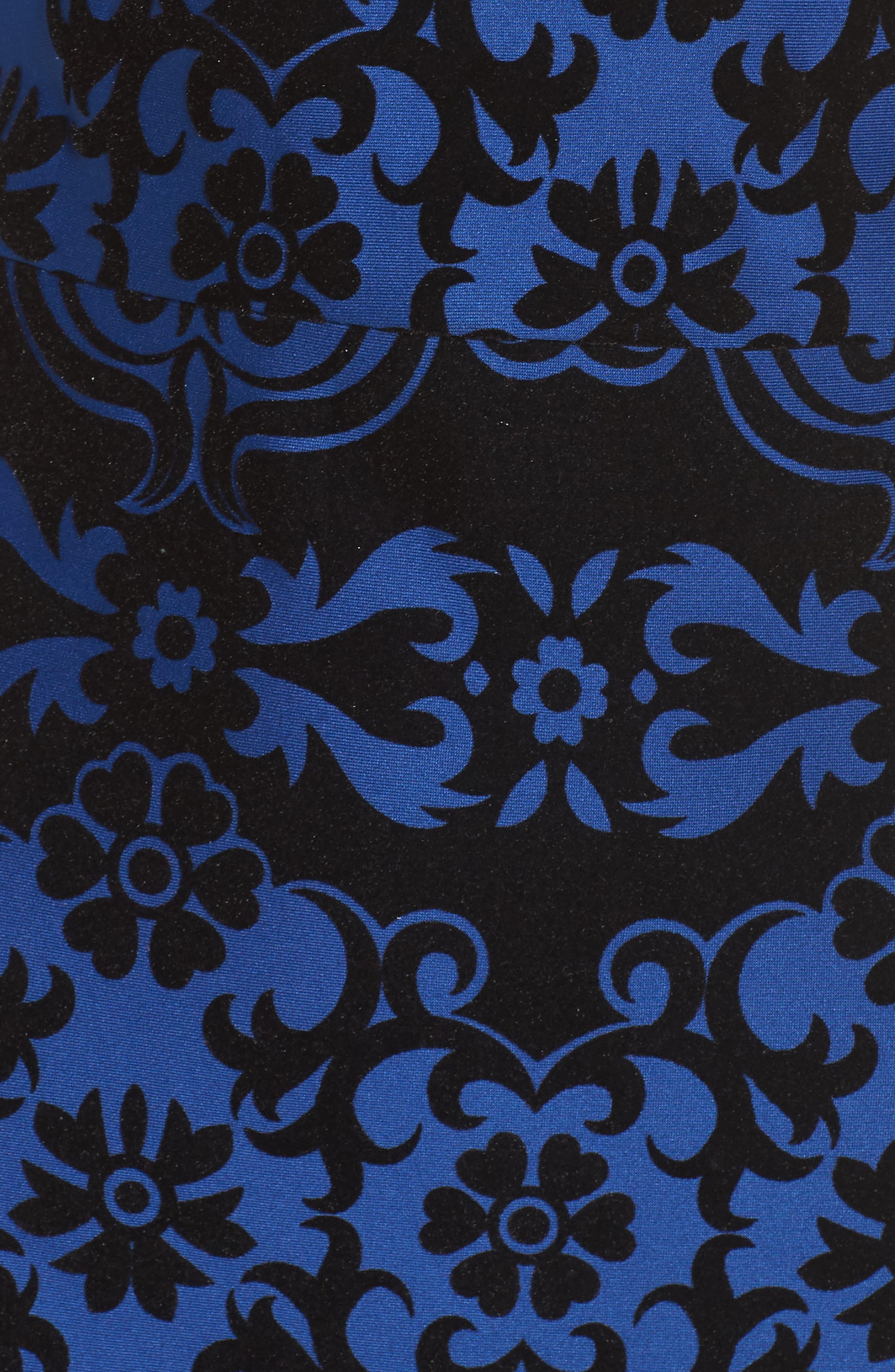 Flocked Midi Dress,                             Alternate thumbnail 6, color,