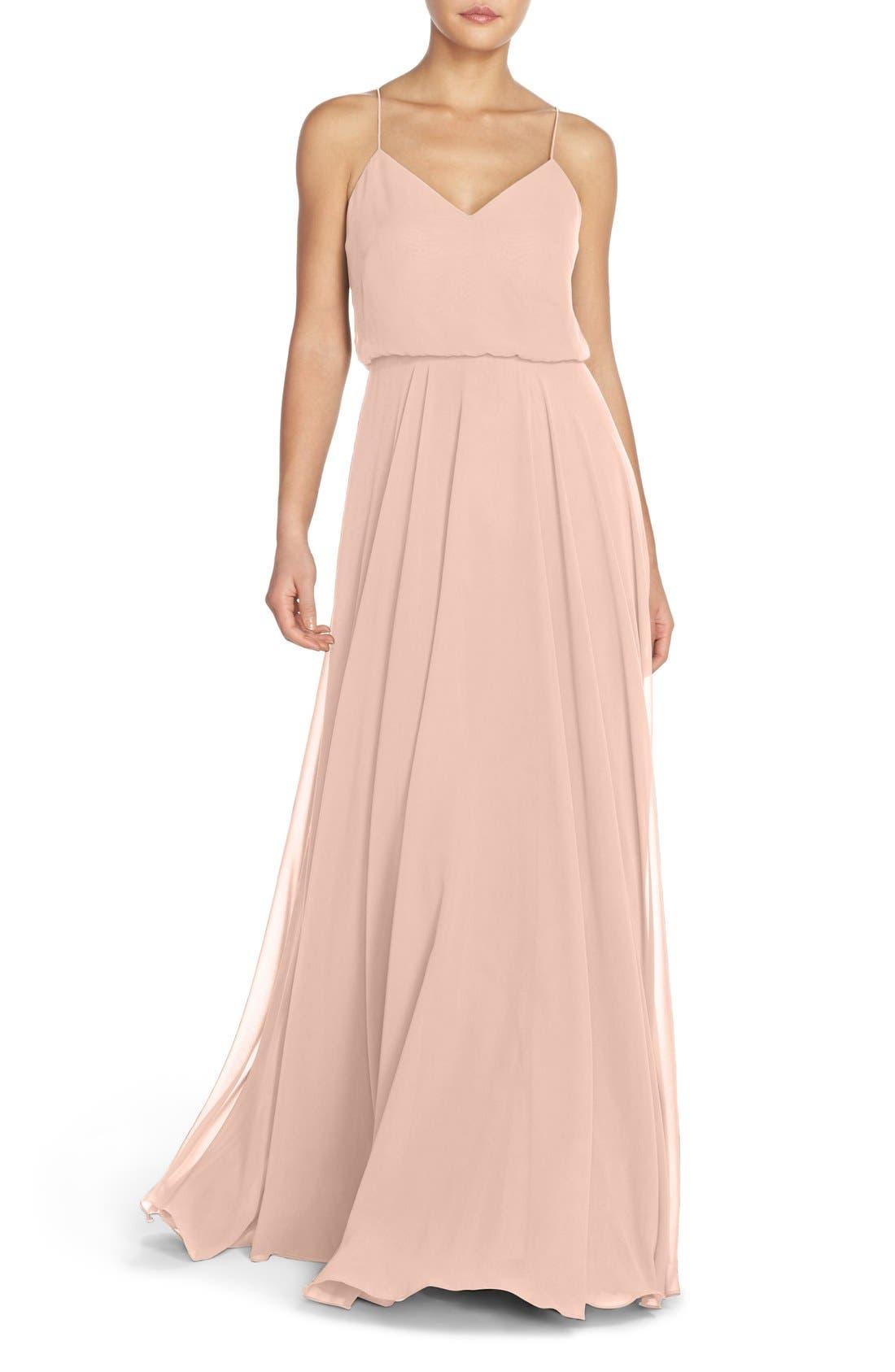 Jenny Yoo Inesse Chiffon V-Neck Spaghetti Strap Gown, Pink