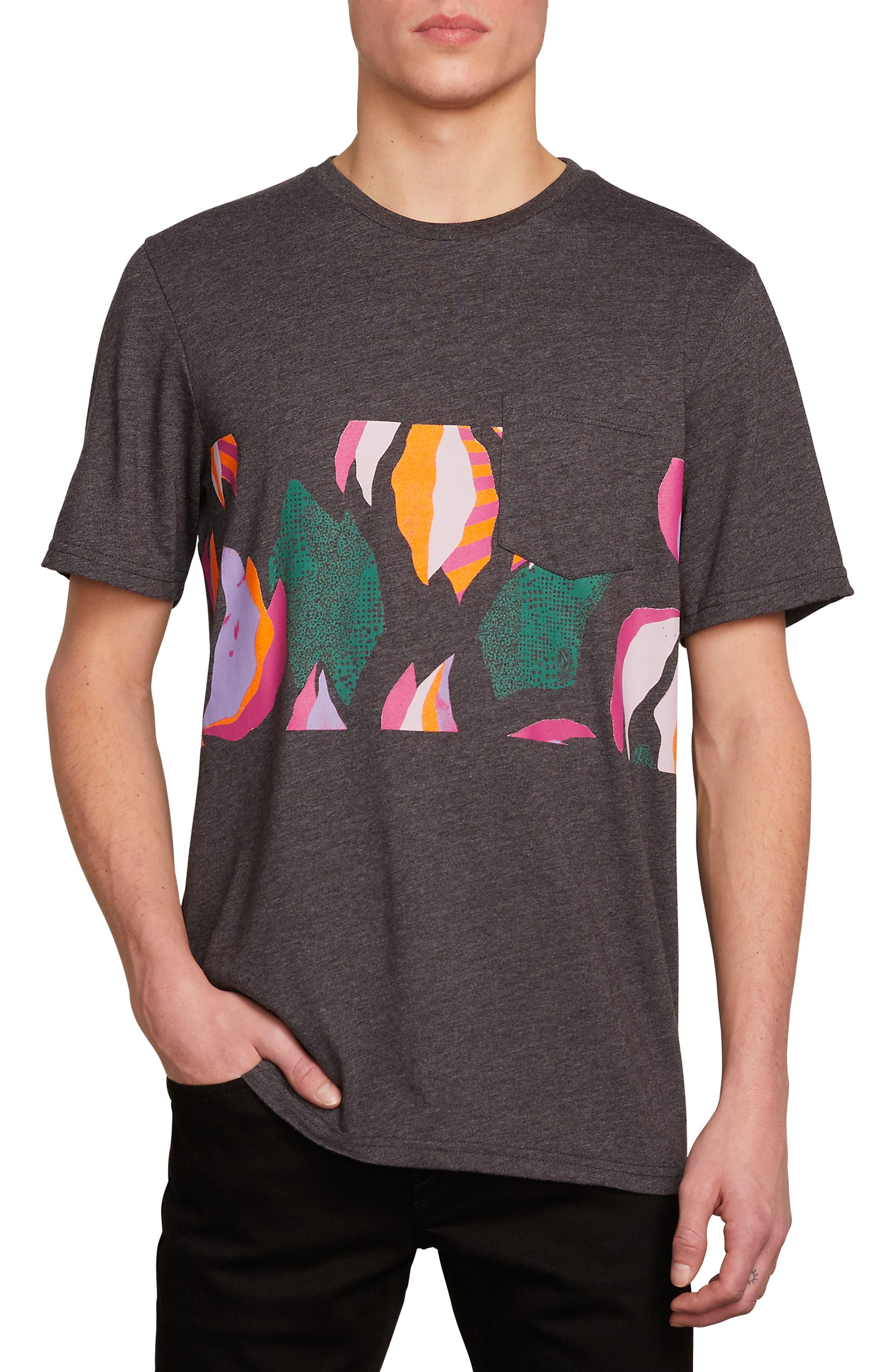 Garden Print Pocket T-Shirt,                         Main,                         color, BLACK HEATHER