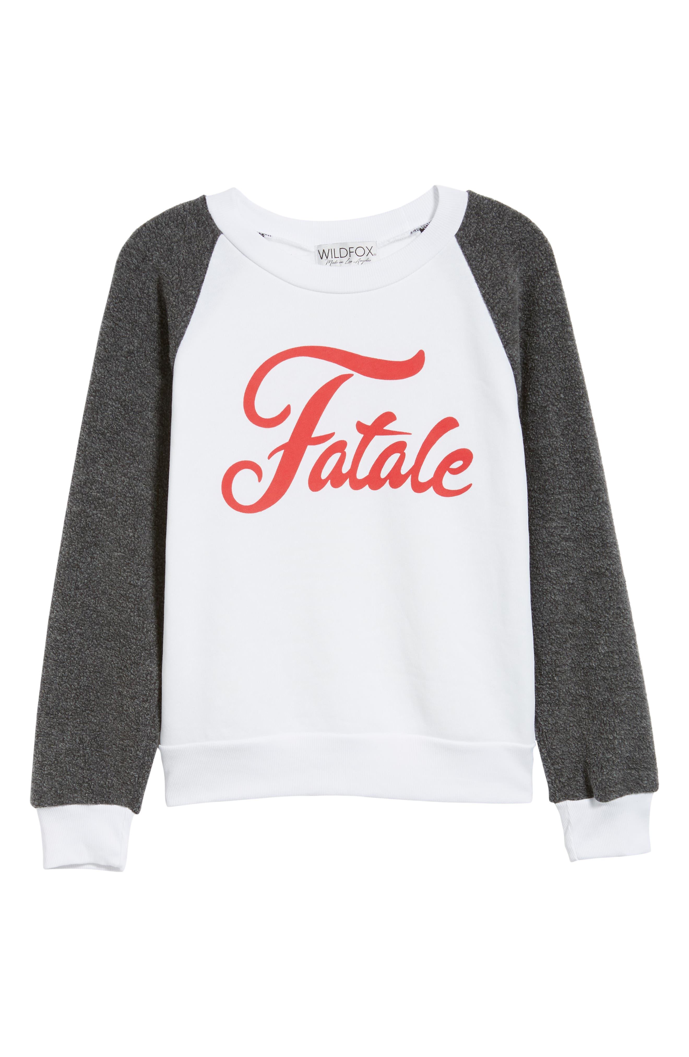 Fatale Fleece Sleeve Sweatshirt,                             Alternate thumbnail 6, color,                             CLEAN WHITE/ CLEAN BLACK