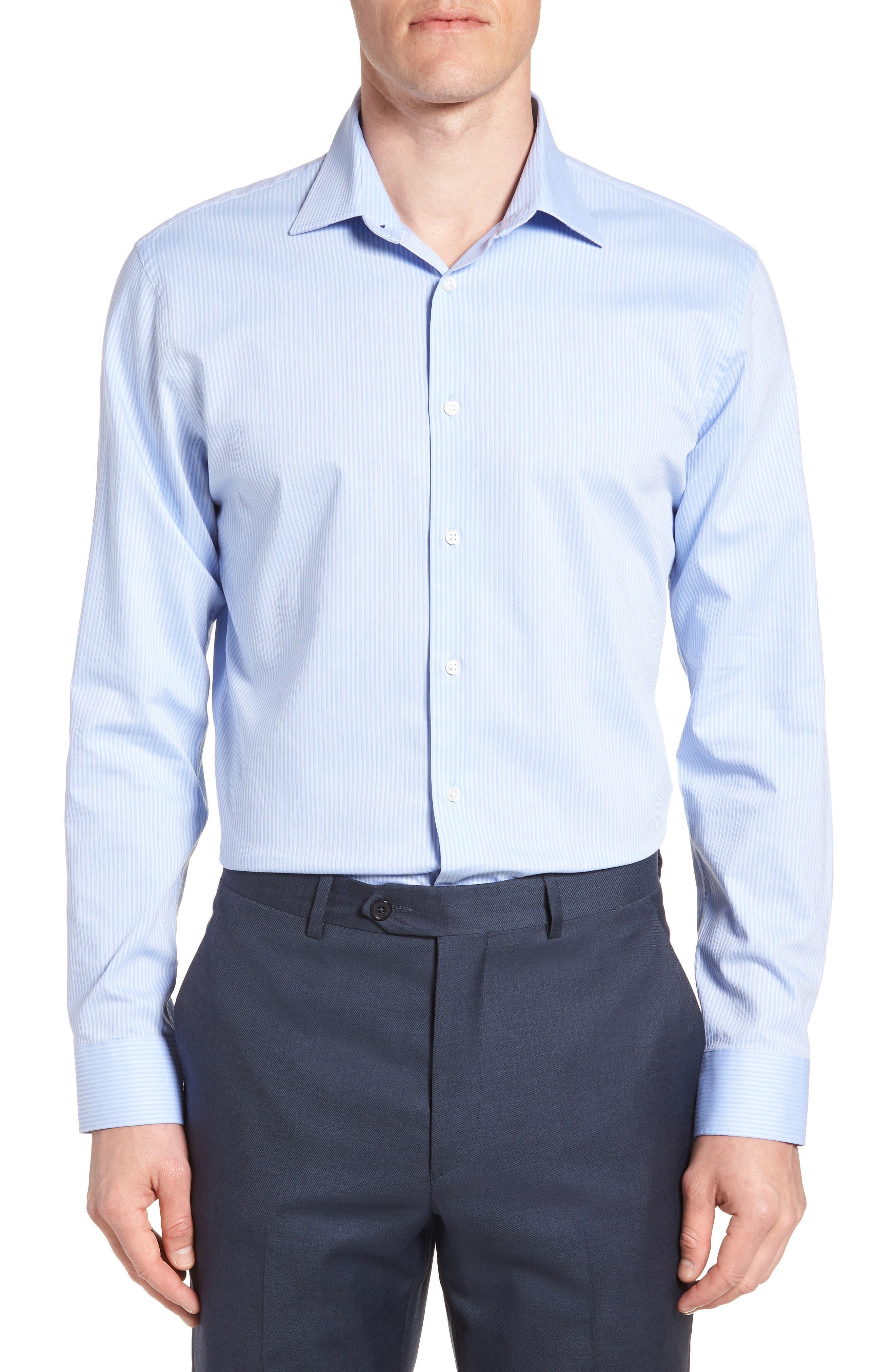 Tech-Smart Trim Fit Stretch Stripe Dress Shirt,                         Main,                         color, 450