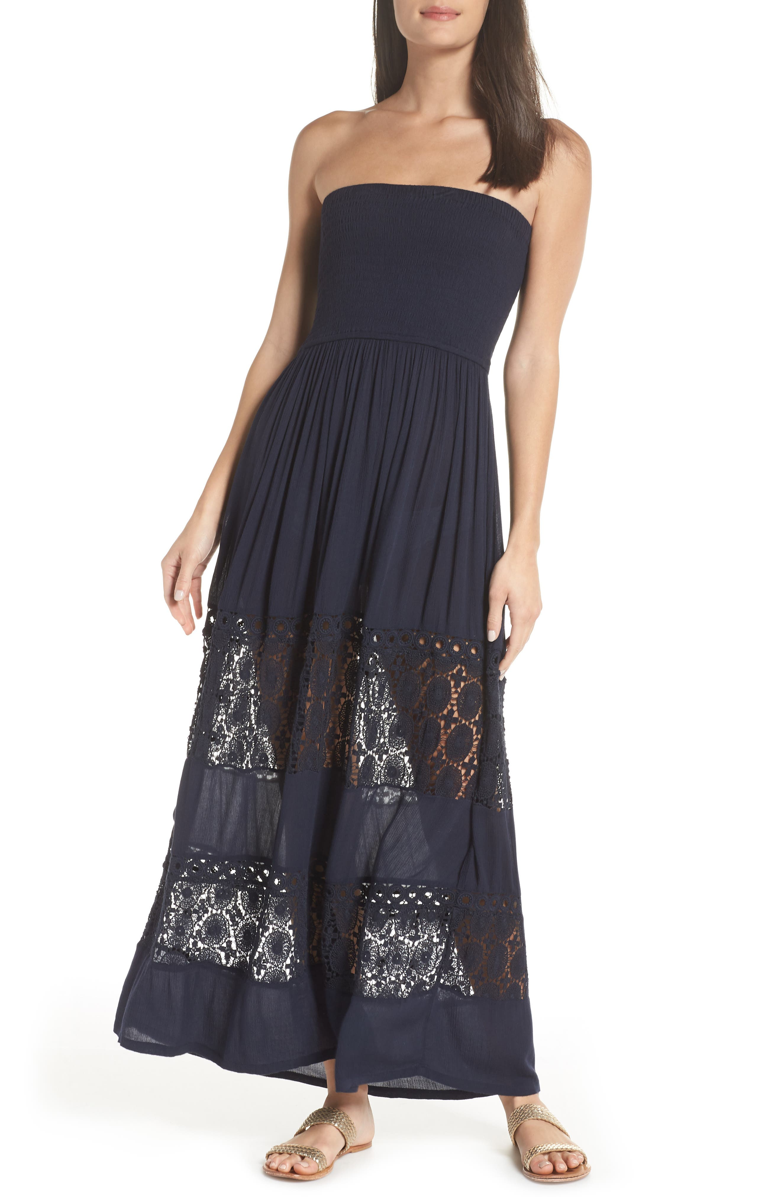 Farrah Smocked Cover-Up Maxi Dress,                         Main,                         color, NAVY SAPPHIRE