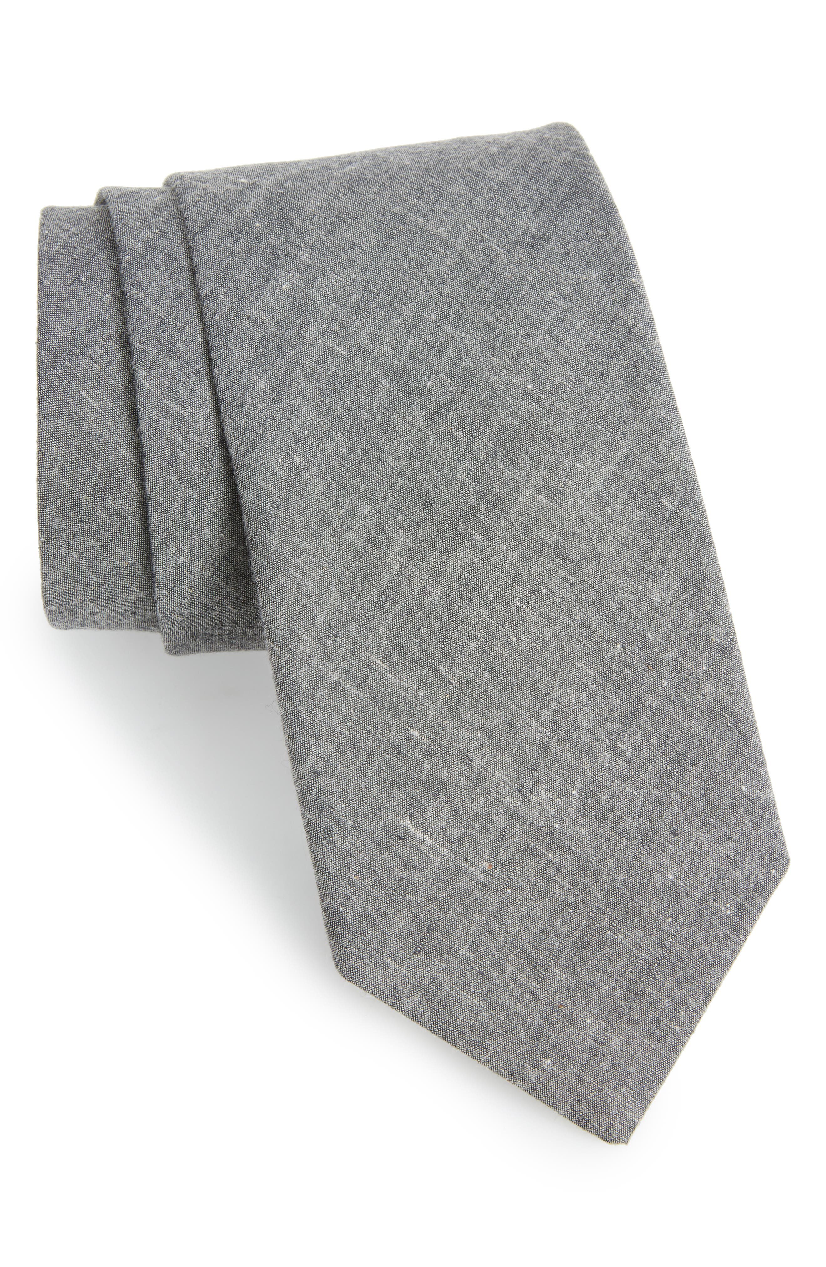 Chambray Cotton Tie,                             Main thumbnail 1, color,