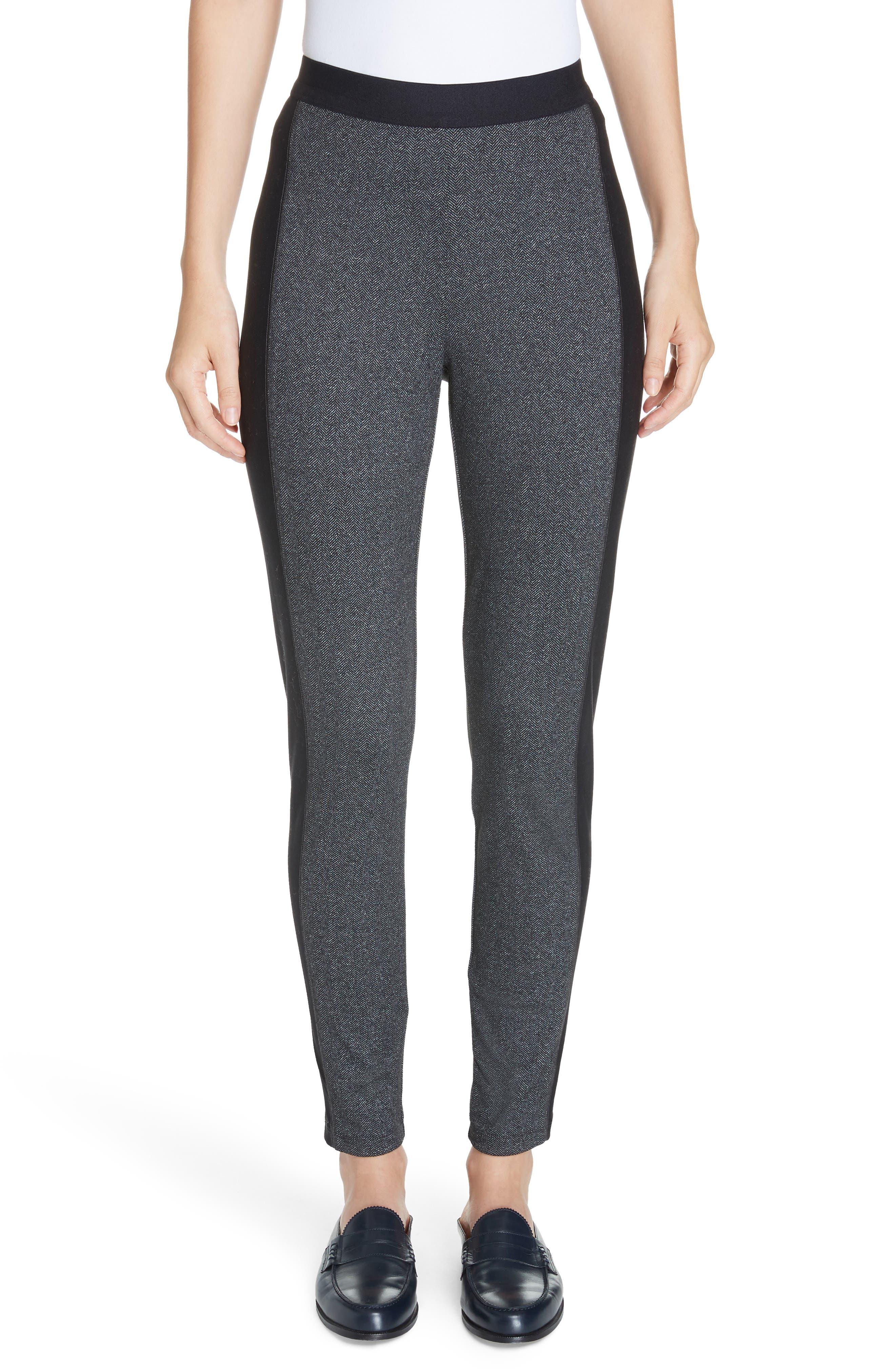 Contrast Panel Tweed Leggings, Main, color, CHARCOAL
