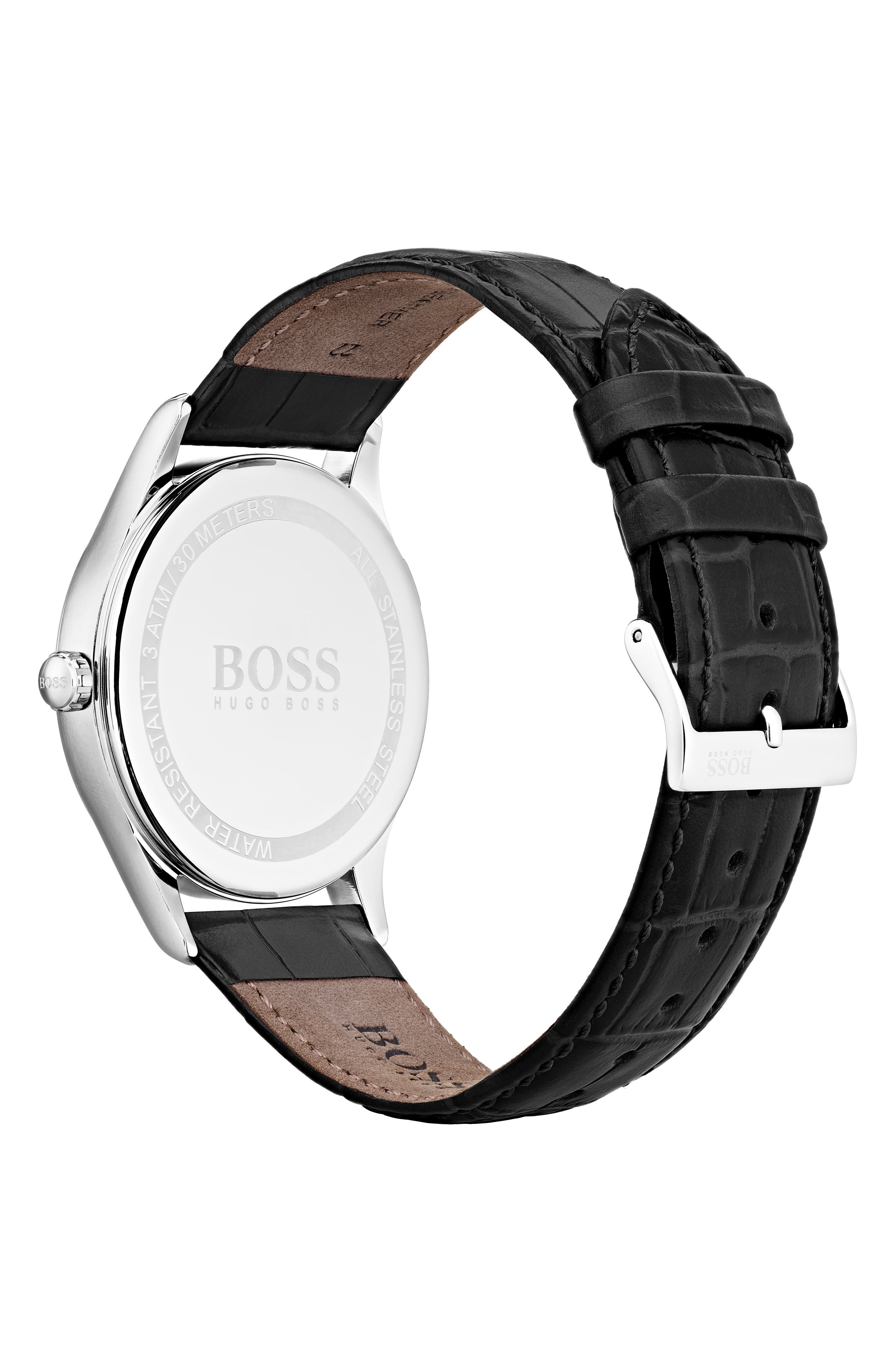 Governor Leather Strap Watch, 44mm,                             Alternate thumbnail 2, color,                             NAVY/ BLACK