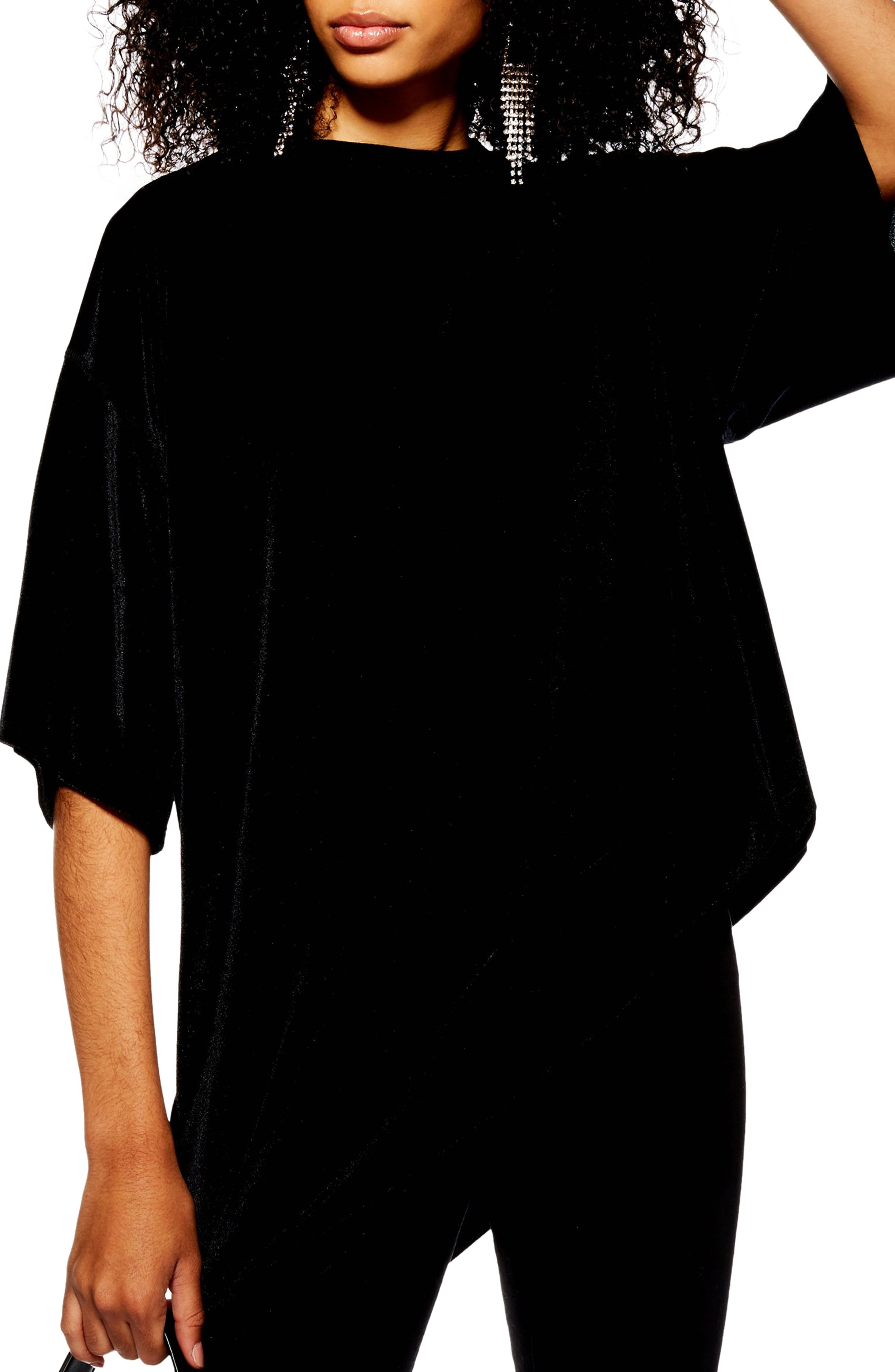 Velvet Tunic Shirt,                             Main thumbnail 1, color,                             BLACK